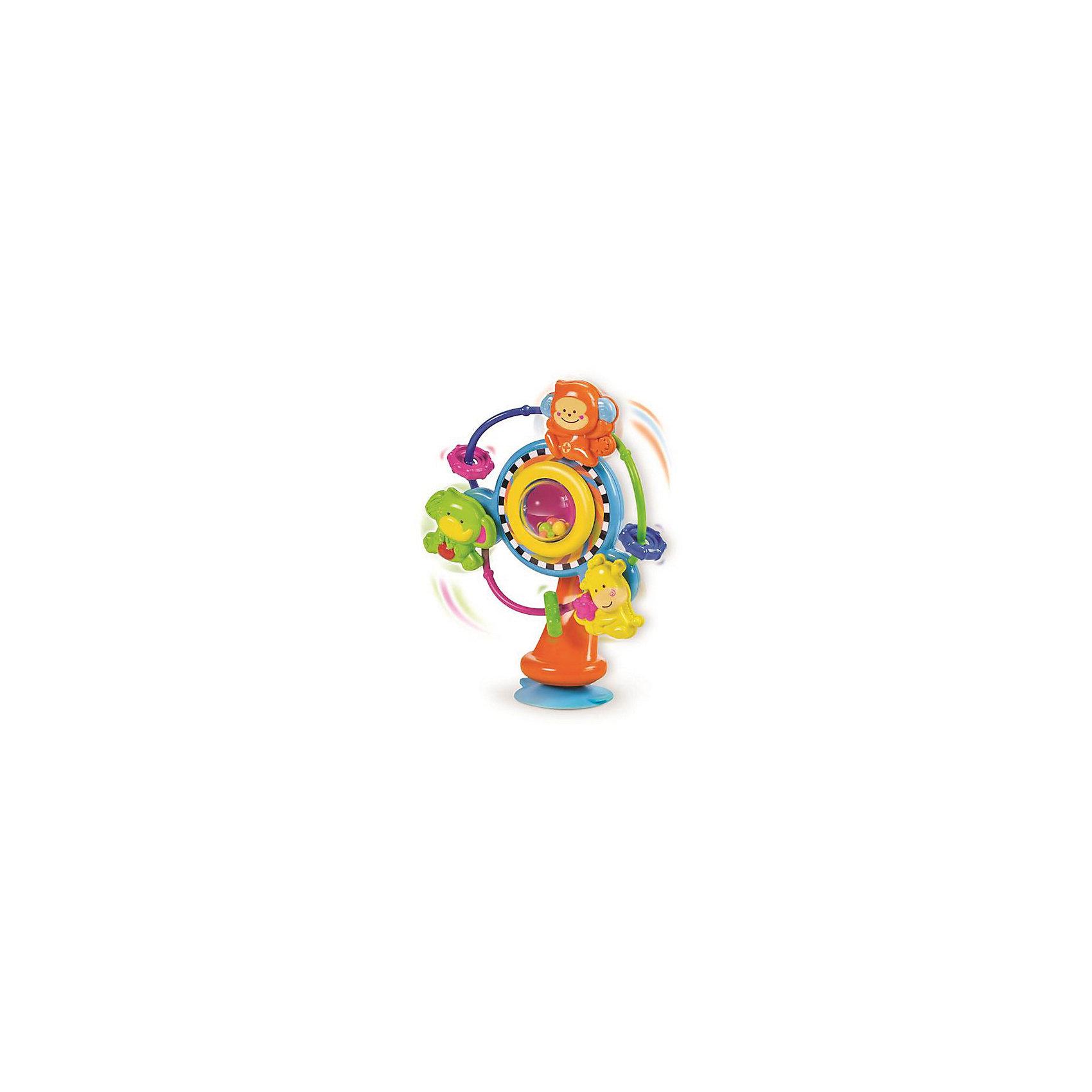 Игрушка на присоске Карусель, BKidsРазвивающие игрушки<br>Помогать развивать способности ребенка можно с самого раннего возраста. Делая это в игре, малыш всесторонне изучает мир и осваивает новые навыки. Эта игрушка представляет собой симпатичную погремушку на присоске.<br>Такие игрушки способствуют развитию мелкой моторики, воображения, цвето- и звуковосприятия, тактильных ощущений и обучению. Изделие разработано специально для самых маленьких. Сделано из материалов, безопасных для детей.<br><br>Дополнительная информация:<br><br>цвет: разноцветный;<br>размер упаковки: 18 х 10 х 23 см;<br>возраст: с 6 мес.<br><br>Игрушку на присоске Карусель от бренда BKids можно купить в нашем интернет-магазине.<br><br>Ширина мм: 100<br>Глубина мм: 100<br>Высота мм: 228<br>Вес г: 288<br>Возраст от месяцев: 6<br>Возраст до месяцев: 36<br>Пол: Унисекс<br>Возраст: Детский<br>SKU: 5055371