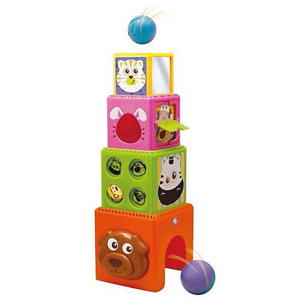 Кубики, BKidsКубики<br>Характеристики:<br><br>• многофункциональные кубики для детей;<br>• развивающие элементы: сортер, прятки, подвижная дверца, зеркальце;<br>• возможность соорудить башню из кубиков;<br>• в комплекте 4 кубика, 1 шарик;<br>• материал: пластик;<br>• размер упаковки: 28х15х23 см.<br><br>Набор кубиков «Зверята» предлагает ребенку найти все скрытые элементы и изучить свойства каждого. Можно собрать башню и в отверстие самого маленького кубика опустить шарик – через несколько секунд шарик выкатится через дверцу. Если открыть окошки, из них выглянут разные зверушки. Мордочка собачки наглядно демонстрирует для изучения глазки, носик, ушки. Ребенок увлеченно занимается изучением всех элементов самостоятельно или с маминой помощью. <br> <br>Кубики, BKids можно купить в нашем интернет-магазине.<br>Ширина мм: 152; Глубина мм: 152; Высота мм: 228; Вес г: 713; Возраст от месяцев: 9; Возраст до месяцев: 36; Пол: Унисекс; Возраст: Детский; SKU: 5055376;