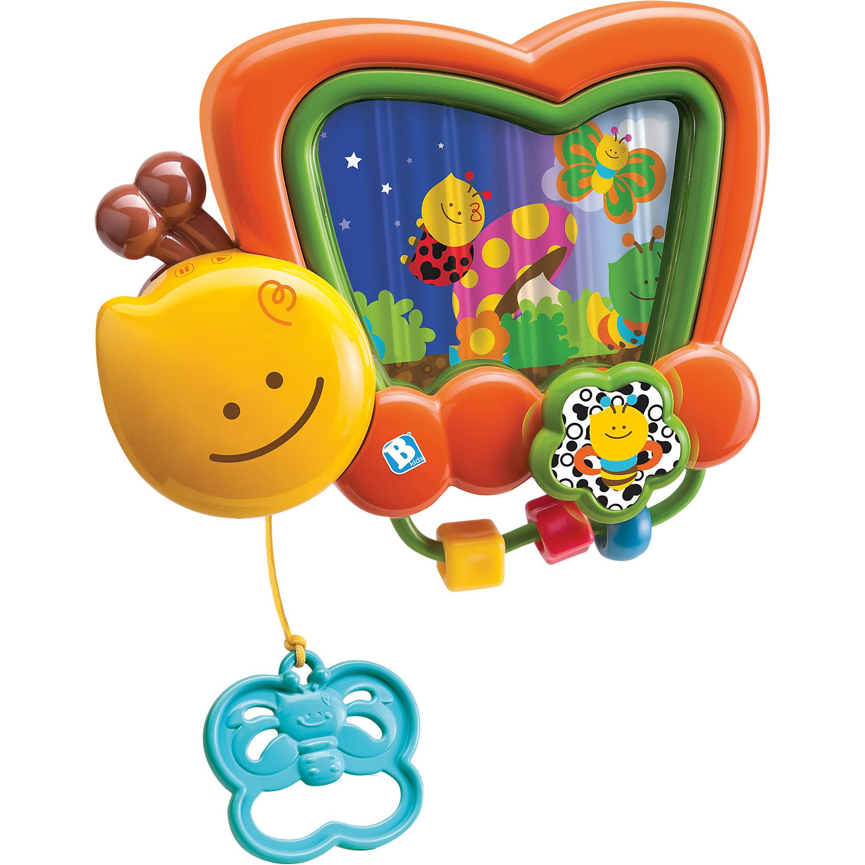 Игрушка Музыкальная шкатулка на кроватку, BKidsИнтерактивные игрушки для малышей<br>Развивать способности ребенка можно с самого раннего возраста. Делая это в игре, малыш всесторонне изучает мир и осваивает новые навыки. Эта игрушка представляет собой музыкальную шкатулку в виде бабочки - она играет мелодии и показывает картинки.<br>Такие игрушки способствуют развитию мелкой моторики, воображения, цвето- и звуковосприятия, тактильных ощущений и обучению. Изделие разработано специально для самых маленьких. Сделано из материалов, безопасных для детей.<br><br>Дополнительная информация:<br><br>цвет: разноцветный;<br>размер упаковки: 25 х 9 х 23 см;<br>возраст: с рождения.<br><br>Игрушку Музыкальная шкатулка на кроватку от бренда BKids можно купить в нашем интернет-магазине.<br><br>Ширина мм: 89<br>Глубина мм: 228<br>Высота мм: 254<br>Вес г: 454<br>Возраст от месяцев: 0<br>Возраст до месяцев: 12<br>Пол: Унисекс<br>Возраст: Детский<br>SKU: 5055377