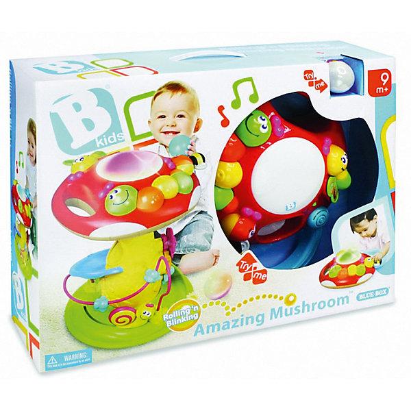 Игрушка Грибок, BKidsИнтерактивные игрушки для малышей<br>Малыши стремятся познавать всё новое - делать это можно с самого раннего возраста. Играя, малыш всесторонне изучает мир и осваивает новые навыки. Эта игрушка представляет собой интерактивный развивающий центр, рассчитанный на детей нескольких возрастов. Помимо самого гриба в коробке есть три шарика (один из которых – светящийся): бросайте их в отверстие на шляпке мухомора – шары будут скатываться вниз, а из гриба донесется приятная мелодия. В развивающий центр встроена популярная логическая игрушка лабиринт и пианино.<br>Такие игрушки способствуют развитию мелкой моторики, воображения, цвето- и звуковосприятия, тактильных ощущений и обучению. Изделие разработано специально для самых маленьких. Сделано из материалов, безопасных для детей.<br><br>Дополнительная информация:<br><br>цвет: разноцветный;<br>размер: 40 х 30 см;<br>батарейки 2хАА и 2хLR44 входят в комплект;<br>возраст: с 9 мес.<br><br>Игрушку Грибок от бренда BKids можно купить в нашем интернет-магазине.<br>Ширина мм: 139; Глубина мм: 139; Высота мм: 406; Вес г: 2480; Возраст от месяцев: 9; Возраст до месяцев: 36; Пол: Унисекс; Возраст: Детский; SKU: 5055381;