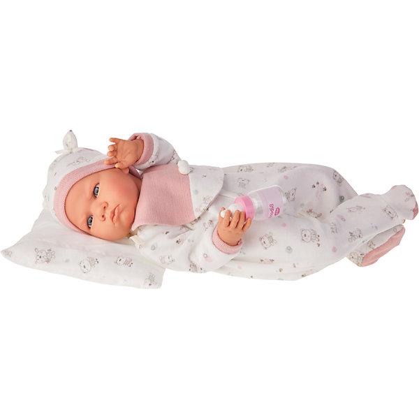 Кукла Бертина в розовом, озвученная, 52 см, Munecas Antonio JuanКуклы<br>Кукла Бертина в розовом, озвученная, 52 см, Munecas Antonio Juan (Мунекас Антонио Хуан).<br><br>Характеристики:<br><br>- Комплектация: кукла в одежде, бутылочка, подушка<br>- Материал: винил, текстиль<br>- Высота куклы: 52 см.<br>- Глаза не закрываются<br>- Интерактивные функции куклы: нажмите на животик 1 раз и кукла начнет по детски лепетать<br>- Батарейки: 3 x AG13 / LR44 (входят в комплект)<br>- Упаковка: яркая подарочная коробка<br><br>Малышка Бертина невероятно похожа на настоящего младенца, совпадает даже рост (52 см). Анатомическая точность, с которой выполнена кукла, поражает! Голубые глазки, маленький носик, нежные щечки, улыбка, милые «перевязочки» на ручках и ножках придают кукле реалистичный вид и вызывают только самые положительные и добрые эмоции. Бертина одета в белый комбинезон с рисунком в виде зверушек и розовой манишкой на груди, на голове - теплая мягкая шапочка с декоративными завязочками. Одежда дополнена розовыми вязанными манжетами. В комплекте также предусмотрена бутылочка и мягкая подушечка, на которую куклу можно удобно разместить. Кукла оснащена звуковым модулем, если нажать на животик, Бертина начнет реалистично агукать, как новорождённый ребенок. Тельце у куклы мягко-набивное, голова, ручки и ножки сделаны из высококачественного винила. Голова, ручки и ножки подвижны. Кукла изготовлена из высококачественных и экологически чистых материалов, поэтому безопасна для детей любого возраста, соответствует всем нормам и требованиям к качеству детских товаров. Образы малышей Мунекас разработаны известными европейскими дизайнерами. Они натуралистичны, анатомически точны.<br><br>Куклу Бертина в розовом, озвученную, 52 см, Munecas Antonio Juan (Мунекас Антонио Хуан) можно купить в нашем интернет-магазине.<br><br>Ширина мм: 59<br>Глубина мм: 29<br>Высота мм: 14<br>Вес г: 1825<br>Возраст от месяцев: 36<br>Возраст до месяцев: 2147483647<br>Пол: Женский<br>Возраст: Детский<br>SKU