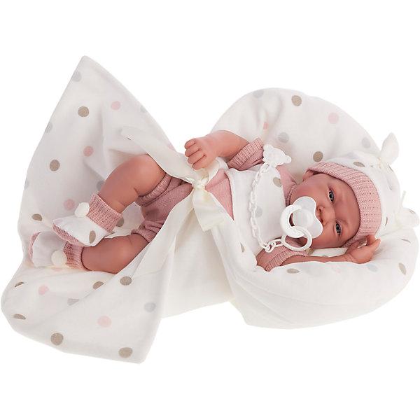 Кукла Санти в розовом, озвученная, 40 см, Munecas Antonio JuanКуклы<br>Кукла Санти в розовом, озвученная, 40 см, Munecas Antonio Juan (Мунекас Антонио Хуан).<br><br>Характеристики:<br><br>- Комплектация: кукла в одежде, одеяло, соска<br>- Материал: винил, текстиль<br>- Высота куклы: 40 см.<br>- Глаза не закрываются<br>- Интерактивные функции куклы: нажмите на животик 1 раз и кукла начнет по детски лепетать<br>- Батарейки: 3 x AG13 / LR44 (входят в комплект)<br>- Упаковка: яркая подарочная коробка<br><br>Малышка Санти невероятно похожа на настоящего младенца. Анатомическая точность, с которой выполнена кукла, поражает! Голубые глазки, маленький носик, нежные щечки, пухлые губки, милые «перевязочки» на ручках и ножках придают кукле реалистичный вид и вызывают только самые положительные и добрые эмоции. Санти одета нежно-розовый утепленный комбинезончик, светлую вязаную шапочку, на ногах - мягкие пинетки с помпончиками. В комплекте также предусмотрена соска и одеяло украшенное узором в горошек. Кукла оснащена звуковым модулем, если нажать на животик, Санти начнет по детски лепетать. Тельце у куклы мягко-набивное, голова, ручки и ножки сделаны из высококачественного винила. Голова, ручки и ножки подвижны. Кукла изготовлена из высококачественных и экологически чистых материалов, поэтому безопасна для детей любого возраста, соответствует всем нормам и требованиям к качеству детских товаров. Образы малышей Мунекас разработаны известными европейскими дизайнерами. Они натуралистичны, анатомически точны.<br><br>Куклу Санти в розовом, озвученную, 40 см, Munecas Antonio Juan (Мунекас Антонио Хуан) можно купить в нашем интернет-магазине.<br><br>Ширина мм: 50<br>Глубина мм: 26<br>Высота мм: 16<br>Вес г: 1770<br>Возраст от месяцев: 36<br>Возраст до месяцев: 2147483647<br>Пол: Женский<br>Возраст: Детский<br>SKU: 5055416