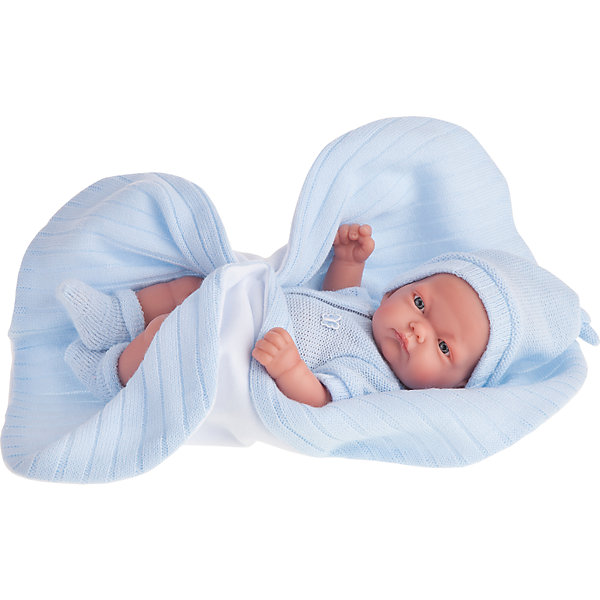 Кукла-младенец Карлос в голубом одеяле, 26 см, Munecas Antonio JuanКуклы<br>Кукла-младенец Карлос в голубом одеяле, 26 см, Munecas Antonio Juan (Мунекас Антонио Хуан).<br><br>Характеристики:<br><br>- Комплектация: кукла, одеяло<br>- Материал: винил, текстиль<br>- Высота куклы: 26 см.<br>- Глаза не закрываются<br>- Упаковка: яркая подарочная коробка<br><br>Малыш Карлос невероятно похож на настоящего младенца. Анатомическая точность, с которой выполнена кукла, поражает! Выразительные глазки, маленький носик, нежные щечки, пухлые губки, милые «перевязочки» на ручках и ножках придают кукле реалистичный вид и вызывают только самые положительные и добрые эмоции. Карлос одет в голубой вязаный комбинезон на застежке с коротким рукавом. Он дополнен украшением в форме бабочки. На голове вязаная шапочка, а на ножках носочки нежного голубого цвета. Верхняя часть шапочки завязана узлом. Кукла лежит на одеяле. С одной стороны одеяло белое флисовое, а с другой стороны - из трикотажа голубого цвета. Кукла изготовлена из высококачественного винила с покрытием софт тач, мягкого и приятного на ощупь. Голова, ручки и ножки подвижны. Кукла соответствует всем нормам и требованиям к качеству детских товаров. Образы малышей Мунекас разработаны известными европейскими дизайнерами. Они натуралистичны, анатомически точны.<br><br>Куклу-младенца Карлос в голубом одеяле, 26 см, Munecas Antonio Juan (Мунекас Антонио Хуан) можно купить в нашем интернет-магазине.<br><br>Ширина мм: 35<br>Глубина мм: 20<br>Высота мм: 12<br>Вес г: 670<br>Возраст от месяцев: 36<br>Возраст до месяцев: 2147483647<br>Пол: Женский<br>Возраст: Детский<br>SKU: 5055421