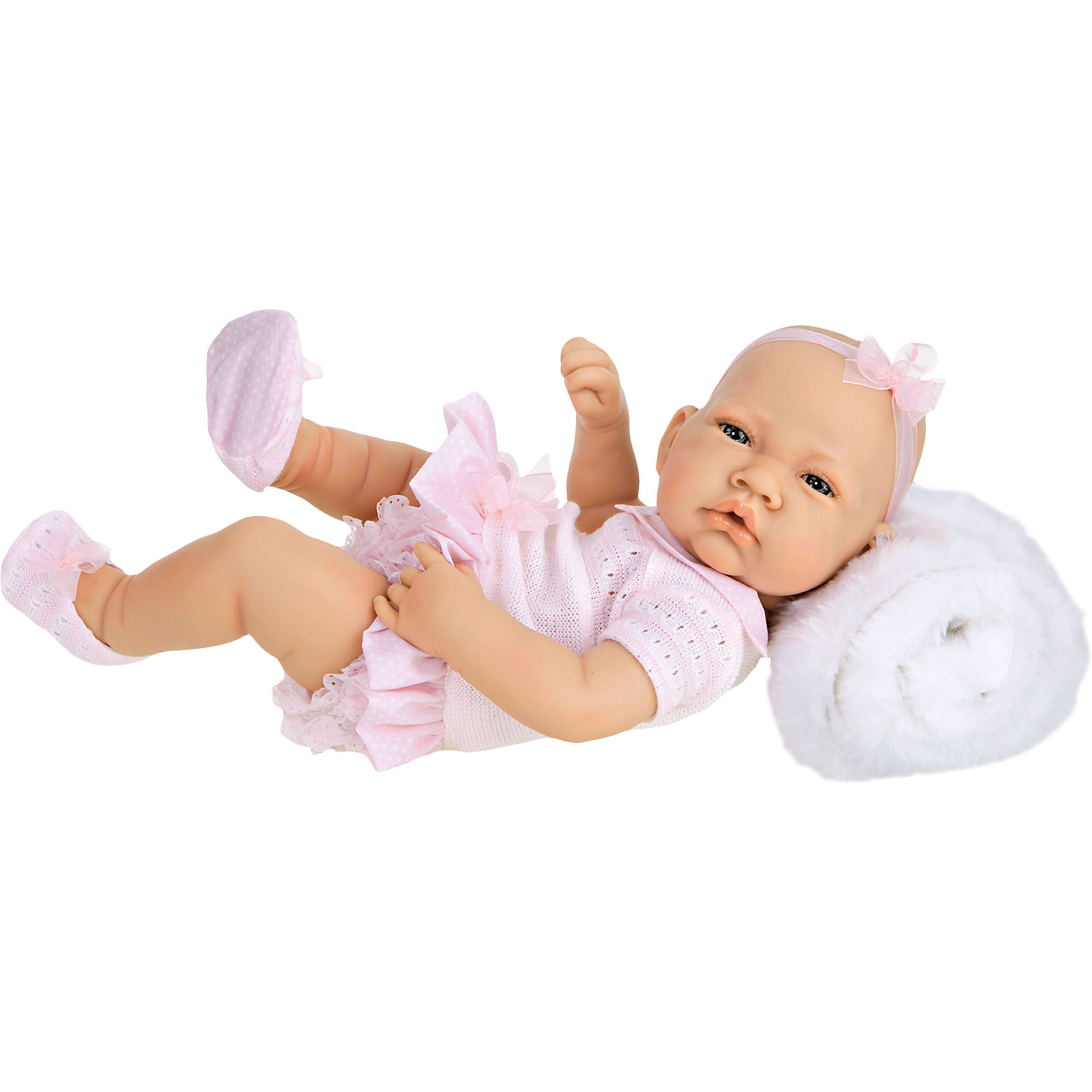 Кукла-младенец Эми, 42 см, Munecas Antonio JuanКлассические куклы<br>Кукла-младенец Эми, 42 см, Munecas Antonio Juan (Мунекас Антонио Хуан).<br><br>Характеристики:<br><br>- Комплектация: кукла, одеяло<br>- Материал: винил, текстиль<br>- Высота куклы: 42 см.<br>- Глаза не закрываются<br>- Упаковка: яркая подарочная коробка<br><br>Малышка Эми невероятно похожа на настоящего младенца. Анатомическая точность, с которой выполнена кукла, поражает! Выразительные глазки, маленький носик, пушистые ресницы, нежные щечки, пухлые губки, милые «перевязочки» на ручках и ножках придают кукле реалистичный вид и вызывают только самые положительные и добрые эмоции. Эми одета в очаровательное платьице и ажурные трусики, пинетки, а ее головку украшает прелестный бантик. В комплекте есть пушистое и теплое одеяльце, которым можно будет накрыть малышку, если девочка решит, что ей холодно. Кукла изготовлена из высококачественного винила с покрытием софт тач, мягкого и приятного на ощупь. Голова, ручки и ножки подвижны. Кукла соответствует всем нормам и требованиям к качеству детских товаров. Образы малышей Мунекас разработаны известными европейскими дизайнерами. Они натуралистичны, анатомически точны.<br><br>Куклу-младенца Эми, 42 см, Munecas Antonio Juan (Мунекас Антонио Хуан) можно купить в нашем интернет-магазине.<br><br>Ширина мм: 45<br>Глубина мм: 39<br>Высота мм: 17<br>Вес г: 1775<br>Возраст от месяцев: 36<br>Возраст до месяцев: 2147483647<br>Пол: Женский<br>Возраст: Детский<br>SKU: 5055425