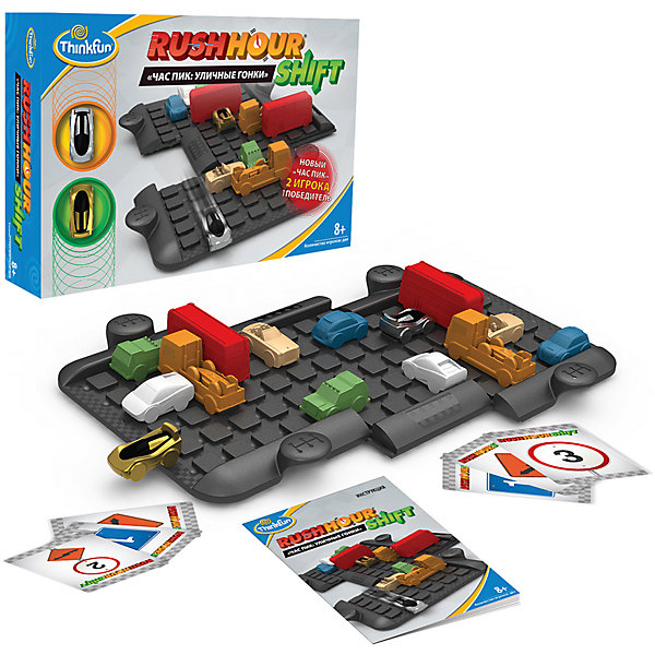 Игра Час пик: Уличные гонки, ThinkfunНастольные игры ходилки<br>Игра Час пик: Уличные гонки, Thinkfun.<br><br>Характеристики:<br><br>- В комплекте: игровое поле из 3 частей, 2 гоночные машинки для игроков, 12 машинок для создания дорожной ситуации, 32 карточки, мешок для хранения, инструкция<br>- Количество игроков: 2<br>- Время игры: 10-20 мин.<br>- Материал: пластик, картон, текстиль<br>- Размер упаковки: 30 x 22 x 6 см<br>- Упаковка: картонная коробка<br>- Вес: 650 гр.<br><br>Игра представляет собой своеобразную логическую гонку - перед игроками расположено поле, имеющее три подвижные секции и машинки, создающие препятствия. Игра построена по принципу игры «Пятнашки», только фишки в ней имеют разные размеры и выполнены в форме машинок, и перемещаются они только в двух направлениях — взад и вперед. Игроку необходимо провести свой автомобиль через игровое поле, передвигая мешающие прямому проезду машины. Задача усложняется тем, что конфигурация игрового поля и положение на нем может изменяться по велению карт-указателей, а игроки могут мешать своими действиями друг другу. Необходимы удача, смекалка и сообразительность, чтобы опередить соперника и прийти первым, став победителем уличной гонки.<br><br>Игру Час пик: Уличные гонки, Thinkfun можно купить в нашем интернет-магазине.<br><br>Ширина мм: 220<br>Глубина мм: 300<br>Высота мм: 60<br>Вес г: 650<br>Возраст от месяцев: 36<br>Возраст до месяцев: 2147483647<br>Пол: Унисекс<br>Возраст: Детский<br>SKU: 5055426