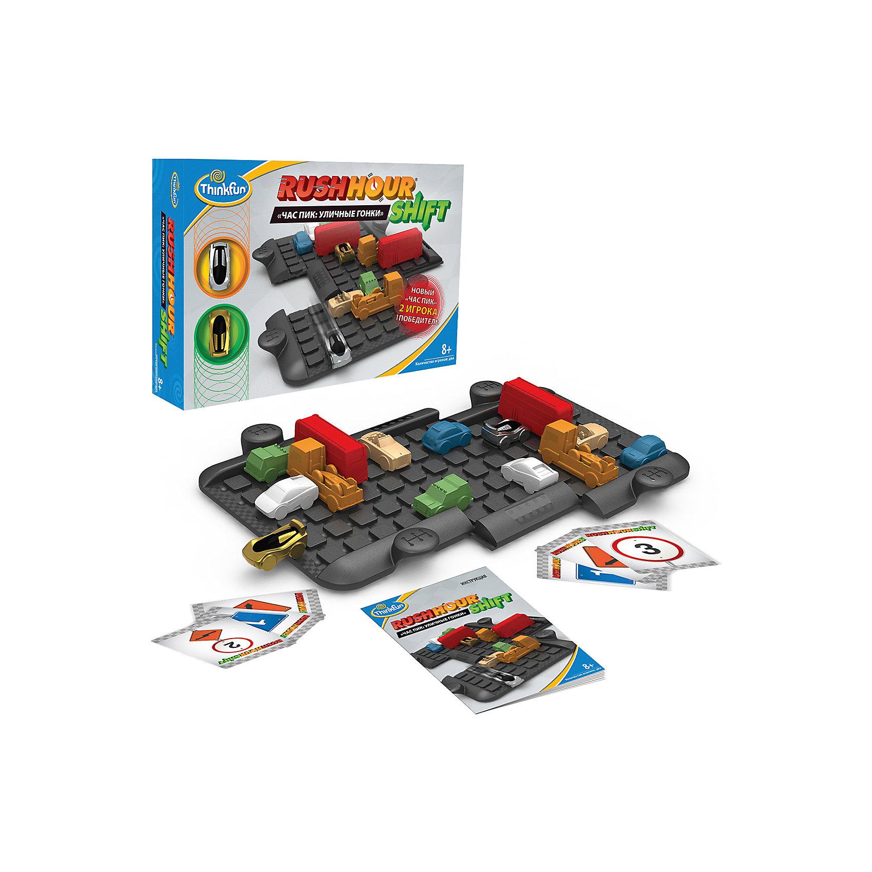 Игра Час пик: Уличные гонки, ThinkfunИгры для развлечений<br>Игра Час пик: Уличные гонки, Thinkfun.<br><br>Характеристики:<br><br>- В комплекте: игровое поле из 3 частей, 2 гоночные машинки для игроков, 12 машинок для создания дорожной ситуации, 32 карточки, мешок для хранения, инструкция<br>- Количество игроков: 2<br>- Время игры: 10-20 мин.<br>- Материал: пластик, картон, текстиль<br>- Размер упаковки: 30 x 22 x 6 см<br>- Упаковка: картонная коробка<br>- Вес: 650 гр.<br><br>Игра представляет собой своеобразную логическую гонку - перед игроками расположено поле, имеющее три подвижные секции и машинки, создающие препятствия. Игра построена по принципу игры «Пятнашки», только фишки в ней имеют разные размеры и выполнены в форме машинок, и перемещаются они только в двух направлениях — взад и вперед. Игроку необходимо провести свой автомобиль через игровое поле, передвигая мешающие прямому проезду машины. Задача усложняется тем, что конфигурация игрового поля и положение на нем может изменяться по велению карт-указателей, а игроки могут мешать своими действиями друг другу. Необходимы удача, смекалка и сообразительность, чтобы опередить соперника и прийти первым, став победителем уличной гонки.<br><br>Игру Час пик: Уличные гонки, Thinkfun можно купить в нашем интернет-магазине.<br><br>Ширина мм: 220<br>Глубина мм: 300<br>Высота мм: 60<br>Вес г: 650<br>Возраст от месяцев: 36<br>Возраст до месяцев: 2147483647<br>Пол: Унисекс<br>Возраст: Детский<br>SKU: 5055426