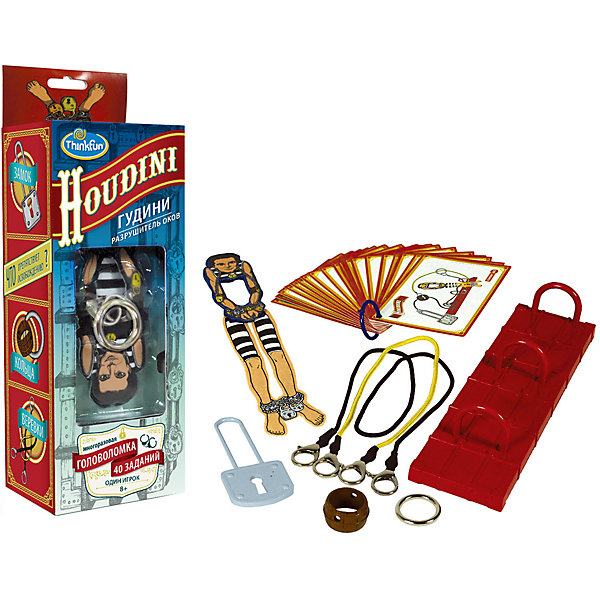 Игра Гудини. Разрушитель оков, ThinkfunСтратегические настольные игры<br>Игра Гудини. Разрушиель оков, Thinkfun.<br><br>Характеристики:<br><br>- Комплектация: платформа с кольцами, разборная фигурка Гудини, металлическое кольцо, пластиковое кольцо, замок, веревки с карабинами на концах, 40 карточек с заданиями<br>- Количество игроков: 1<br>- Время игры: 10-20 мин.<br>- Материал: пластик, картон, металл<br>- Размер упаковки: 25 x 10 x 8 см.<br>- Упаковка: картонная коробка блистерного типа<br><br>При упоминании имени Гудини большинство людей вспоминают его незабываемые представления, в ходе которых он каким-то образом умудрялся выбраться из оков и множества веревок. Некоторые трюки так и остались неразгаданными, будоража фантазию фокусников. В настольной игре-головоломке Гудини Разрушитель оков Вам предстоит разгадать ряд секретов великого Мастера побегов. Выберите одно из заданий, предложенных на карточках, расположите героя на игровой платформе и соедините элементы карабинами. А затем, не расстегивая их, распутайте веревки и освободите фигурку. Вас ждет 40 заданий с разным уровнем сложности. Игра предназначена для развития логического мышления, внимательности и моторики у детей, она также будет интересна и взрослым. Изготовлено из сертифицированных материалов, окрашенных стойкими красителями, которые не истираются и сохраняют первоначальную яркость.<br><br>Игру Гудини. Разрушиель оков, Thinkfun можно купить в нашем интернет-магазине.<br>Ширина мм: 100; Глубина мм: 250; Высота мм: 80; Вес г: 350; Возраст от месяцев: 36; Возраст до месяцев: 2147483647; Пол: Унисекс; Возраст: Детский; SKU: 5055427;