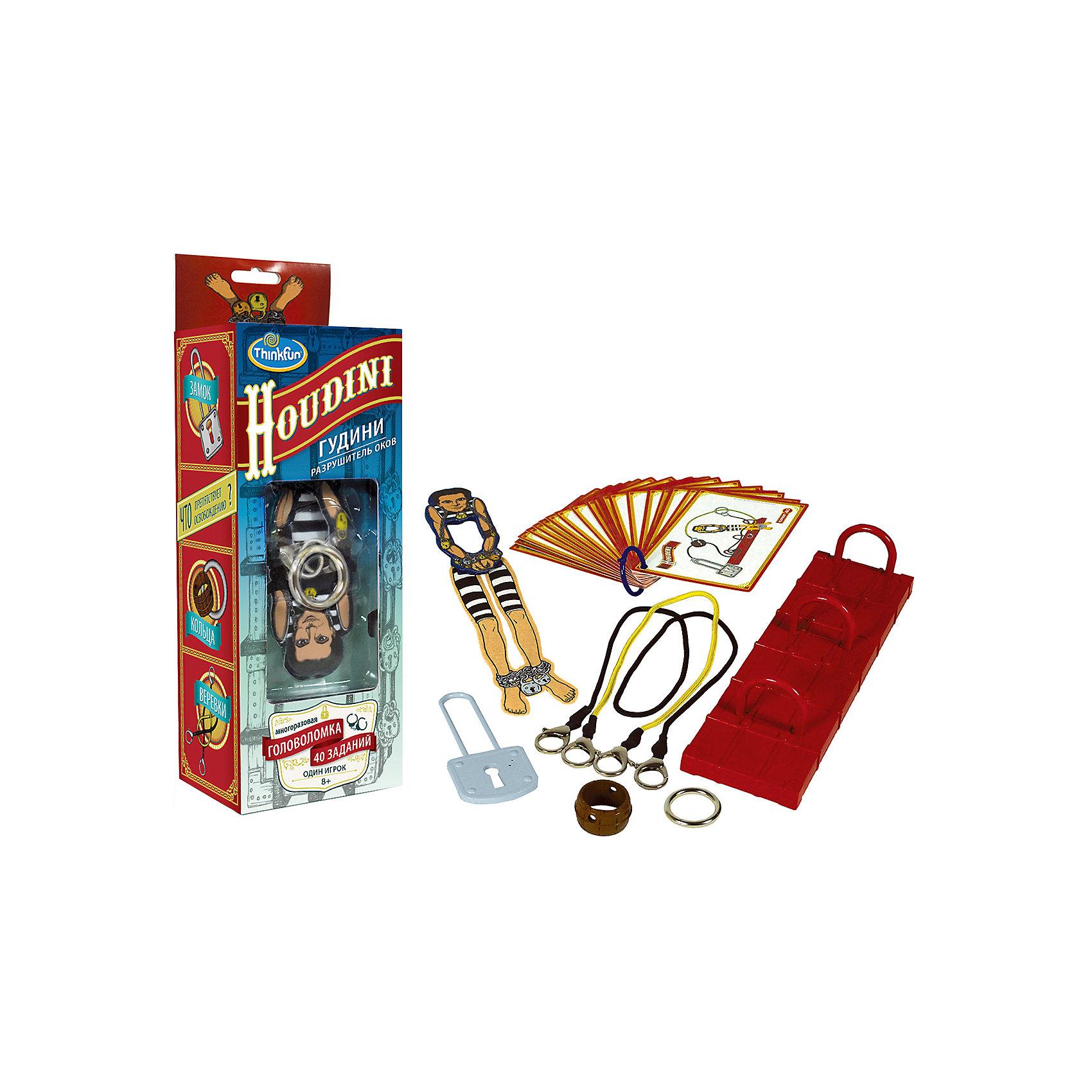 Игра Гудини. Разрушиель оков, ThinkfunИгра Гудини. Разрушиель оков, Thinkfun.<br><br>Характеристики:<br><br>- Комплектация: платформа с кольцами, разборная фигурка Гудини, металлическое кольцо, пластиковое кольцо, замок, веревки с карабинами на концах, 40 карточек с заданиями<br>- Количество игроков: 1<br>- Время игры: 10-20 мин.<br>- Материал: пластик, картон, металл<br>- Размер упаковки: 25 x 10 x 8 см.<br>- Упаковка: картонная коробка блистерного типа<br><br>При упоминании имени Гудини большинство людей вспоминают его незабываемые представления, в ходе которых он каким-то образом умудрялся выбраться из оков и множества веревок. Некоторые трюки так и остались неразгаданными, будоража фантазию фокусников. В настольной игре-головоломке Гудини Разрушитель оков Вам предстоит разгадать ряд секретов великого Мастера побегов. Выберите одно из заданий, предложенных на карточках, расположите героя на игровой платформе и соедините элементы карабинами. А затем, не расстегивая их, распутайте веревки и освободите фигурку. Вас ждет 40 заданий с разным уровнем сложности. Игра предназначена для развития логического мышления, внимательности и моторики у детей, она также будет интересна и взрослым. Изготовлено из сертифицированных материалов, окрашенных стойкими красителями, которые не истираются и сохраняют первоначальную яркость.<br><br>Игру Гудини. Разрушиель оков, Thinkfun можно купить в нашем интернет-магазине.<br><br>Ширина мм: 100<br>Глубина мм: 250<br>Высота мм: 80<br>Вес г: 350<br>Возраст от месяцев: 36<br>Возраст до месяцев: 2147483647<br>Пол: Унисекс<br>Возраст: Детский<br>SKU: 5055427