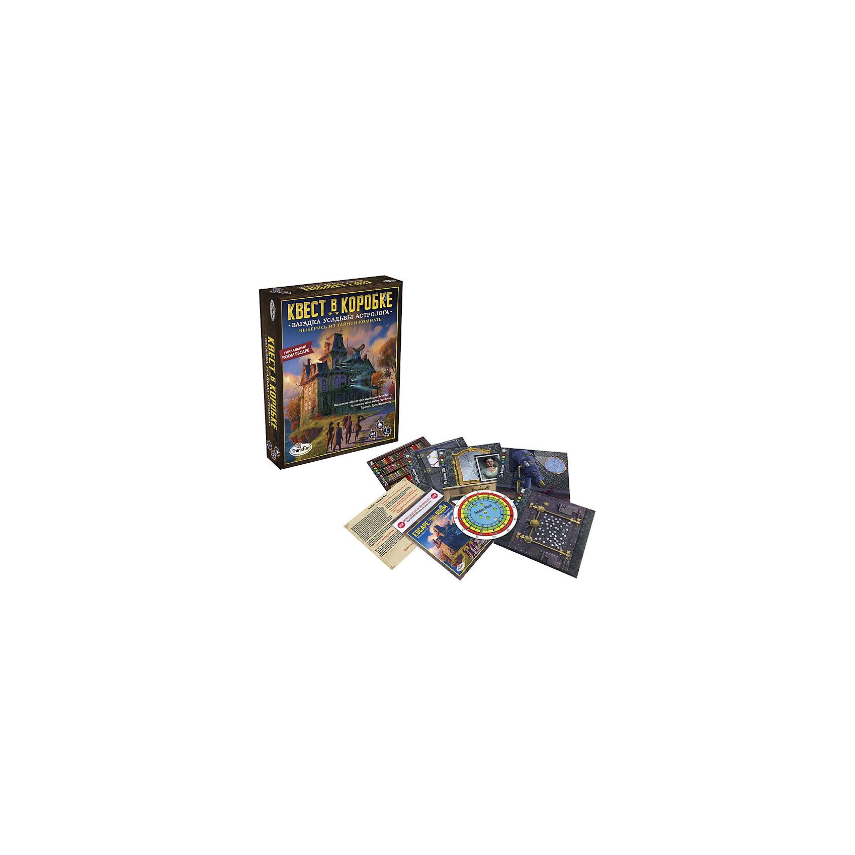 Игра-квест Загадка усадьбы астролога, ThinkfunНастольные игры для всей семьи<br>Игра-квест Загадка усадьбы астролога, Thinkfun.<br><br>Характеристики:<br><br>- цвет: разноцветный;<br>- материал: картон;<br>- комплектация: инструкция, сценарная карта, 5 конвертов с загадочным содержимым, колесо решений;<br>- упаковка: коробка;<br>- особенности: для одного человека;<br>- размер упаковки: 25x10x8 см.<br><br>Идет 1869 год… Почтенного профессора никто не видел уже долгое время. После трагической смерти жены он забросил науку и стал жить затворником, занимаясь астрологией и оккультными науками. Теперь его большой особняк пугает редких прохожих мрачным видом и потусторонними звуками. Куда же исчез хозяин? Цель игры: выбраться из тайной комнаты. Как играть: Действуя сообща, игроки ищут подсказки и решают головоломки, чтобы выбраться из заточения. Попутно проясняется история Астролога и его таинственной усадьбы. В небольшой коробке – целая игровая комната, с предметами обстановки и аксессуарами. Интеллектуальная игра-головоломка Загадка усадьбы астролога способствует развитию логики, внимательности, нестандартному мышлению, а также учит действовать в команде.<br><br>Игру-квест Загадка усадьбы астролога, Thinkfun можно купить в нашем интернет-магазине.<br><br>Ширина мм: 220<br>Глубина мм: 50<br>Высота мм: 262<br>Вес г: 580<br>Возраст от месяцев: 36<br>Возраст до месяцев: 2147483647<br>Пол: Унисекс<br>Возраст: Детский<br>SKU: 5055428
