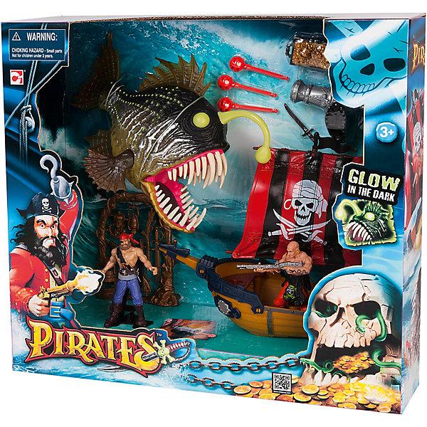 Игровой набор Пираты. Одномачтовый шлюп и Рыба-монстр, Chap MeiСолдатики, люди и рыцари<br>Игровой набор Пираты. Одномачтовый шлюп и Рыба-монстр, Chap Mei.<br><br>Характеристики:<br><br>- В наборе: корабль, рыба-монстр, 2 фигурки пиратов, аксессуары<br>- Материал: пластик<br>- Упаковка: картонная коробка блистерного типа<br>- Размер упаковки: 41 х 13 х 37 см.<br><br>Игровой набор Пираты. Одномачтовый шлюп и Рыба-монстр понравится всем любителям захватывающих морских приключений! В комплект входят пиратский одномачтовый корабль-шлюп с парусом и пушкой, две фигурки свирепых морских разбойников, аксессуары, сундук с золотом и устрашающая рыба-монстр! Игровой набор приятно порадует любителей сюжетно-ролевых игр точностью деталей и реалистичностью, ведь пушка на корабле стреляет, а рыба-монстр светится в темноте. Можно отправиться в увлекательное путешествие по морским просторам, добывать сокровища и прятать их на пиратском острове, ну и конечно помериться силами в опасном сражении с рыбой-монстром! Игра позволит ребенку развивать воображение, внимание и ловкость рук. Малыш значительно расширит кругозор и увеличит свой словарный запас.<br><br>Игровой набор Пираты. Одномачтовый шлюп и Рыба-монстр, Chap Mei можно купить в нашем интернет-магазине.<br><br>Ширина мм: 41<br>Глубина мм: 12<br>Высота мм: 37<br>Вес г: 19<br>Возраст от месяцев: 36<br>Возраст до месяцев: 2147483647<br>Пол: Мужской<br>Возраст: Детский<br>SKU: 5055430