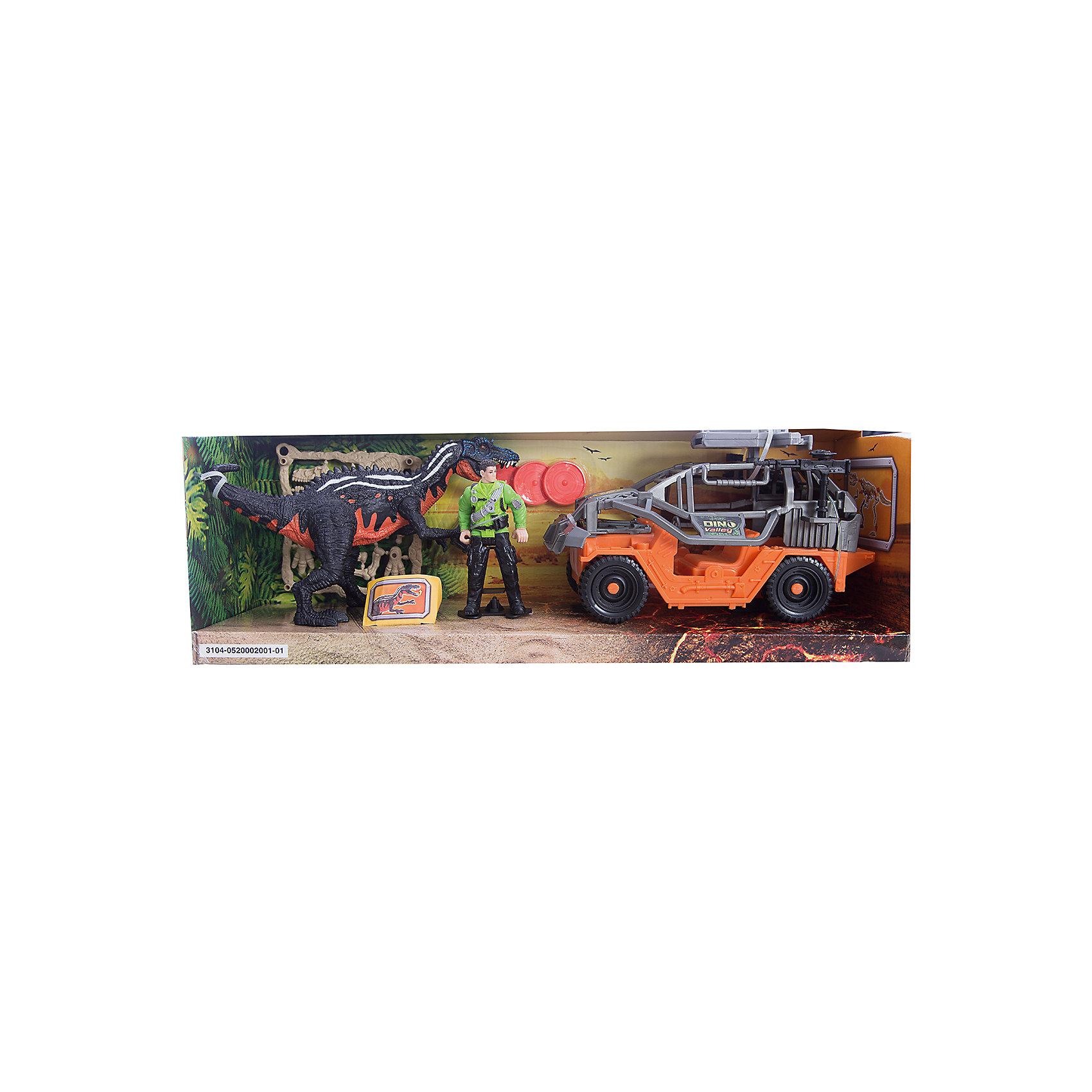Игровой набор Динозавр Барионикс и охотник на джипе, Chap MeiДинозавры и драконы<br>Игровой набор Динозавр Барионикс и охотник на джипе, Chap Mei.<br><br>Характеристики:<br><br>- В наборе: 2 фигурки, джип с орудием, аксессуары, 3 диска для стрельбы<br>- Высота фигурки охотника: 10 см.<br>- Длина джипа: 21 см.<br>- Материал: пластик<br>- Упаковка: картонная коробка открытого типа<br>- Размер упаковки: 45 х 14 х 15 см.<br><br>Игровой набор Chap Mei Динозавр Барионикс и охотник на джипе непременно придется по душе вашему малышу и отлично подойдет для сюжетно-ролевых игр. Голова фигурки охотника поворачивается, руки и ноги двигаются. У фигурки динозавра подвижные конечности, пасть открывается. Фигурка охотника легко помещается в мощный джип. У машины большие ребристые колеса со свободным ходом. Верх кабины дополнен пушкой, которая стреляет дисками. В наборе имеются три диска для орудия. Игровой набор способствует развитию у ребенка мелкой моторики, хватательного рефлекса, осязания и координации движений. Игрушка разовьет интерес ребенка к изучению живого мира нашей планеты.<br><br>Игровой набор Динозавр Барионикс и охотник на джипе, Chap Mei можно купить в нашем интернет-магазине.<br><br>Ширина мм: 45<br>Глубина мм: 13<br>Высота мм: 15<br>Вес г: 731<br>Возраст от месяцев: 36<br>Возраст до месяцев: 2147483647<br>Пол: Мужской<br>Возраст: Детский<br>SKU: 5055431