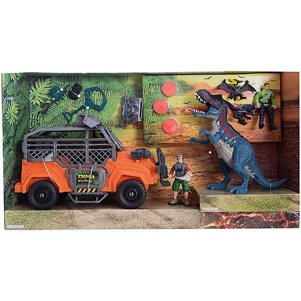 Игровой набор Большая охота на Тиранозавра, Chap MeiИгровые наборы с фигурками<br>Игровой набор Большая охота на Тиранозавра, Chap Mei.<br><br>Характеристики:<br><br>- В наборе: 2 фигурки охотников, 3 фигурки динозавров, джип с орудием, аксессуары, 3 диска для стрельбы<br>- Высота фигурок охотников: 10 см.<br>- Батарейки: 3 типа LR 44 (в комплекте демонстрационные)<br>- Материал: пластик<br>- Упаковка: картонная коробка блистерного типа<br>- Размер упаковки: 58х15х33 см.<br><br>Игровой набор Chap Mei Большая охота на Тиранозавра непременно придется по душе вашему малышу и отлично подойдет для сюжетно-ролевых игр. Головы фигурок охотников поворачиваются, руки и ноги двигаются. У фигурки Тиранозавра подвижные конечности, пасть открывается. Фигурка Тиранозавра оснащена звуковыми и световыми эффектами. Когда он открывает пасть, слышен грозный рёв динозавра, язык и глаза горят красным светом. Фигурки охотников легко помещаются в мощный джип. Вместе с охотниками в машине могут разместиться и две маленькие фигурки динозавриков. У машины большие ребристые колеса со свободным ходом. Верх кабины дополнен орудием с пусковым устройством, которое стреляет дисками. В наборе имеются три диска для орудия. Игровой набор способствует развитию у ребенка мелкой моторики, хватательного рефлекса, осязания и координации движений. Игрушка разовьет интерес ребенка к изучению живого мира нашей планеты.<br><br>Игровой набор Большая охота на Тиранозавра, Chap Mei можно купить в нашем интернет-магазине.<br><br>Ширина мм: 58<br>Глубина мм: 15<br>Высота мм: 33<br>Вес г: 1890<br>Возраст от месяцев: 36<br>Возраст до месяцев: 2147483647<br>Пол: Мужской<br>Возраст: Детский<br>SKU: 5055432
