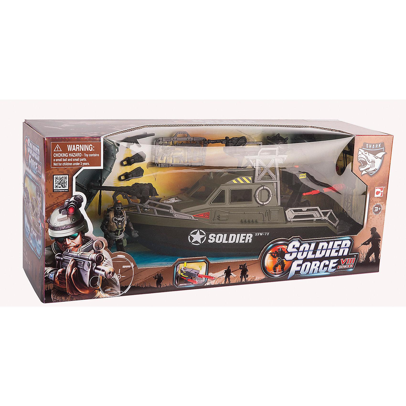 Игровой набор Ракетный катер с лодкой, Chap MeiИгровой набор Ракетный катер с лодкой, Chap Mei.<br><br>Характеристики:<br><br>- цвет: разноцветный;<br>- материал: пластик, металл;<br>- особенности: катер и лодка плавают на воде, пушка стреляет дисками;<br>- вес: 998 г;<br>- упаковка: коробка;<br>- размер упаковки: 53x15x22 см.<br><br>Игровой набор Ракетный катер с лодкой включает в себя все, что нужно для настоящего любителя и ценителя игровых военных действий. Набор состоит из ракетного катера с лодкой, фигурки солдата и игровых аксессуаров. Катер и лодка плавают на воде. В носовой части катера установлена пушка, которая стреляет дисками. Все элементы набора изготовлены из качественного пластика и тщательно детализированы. Игровой набор способствует развитию у ребенка воображения, внимания и мелкой моторики.<br><br>Игровой набор Ракетный катер с лодкой, Chap Mei можно купить в нашем интернет-магазине.<br><br>Ширина мм: 52<br>Глубина мм: 15<br>Высота мм: 21<br>Вес г: 998<br>Возраст от месяцев: 36<br>Возраст до месяцев: 2147483647<br>Пол: Мужской<br>Возраст: Детский<br>SKU: 5055435