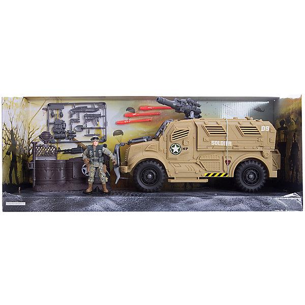 Игровой набор Бронемобиль пехоты, Chap MeiСолдатики и рыцари<br>Игровой набор Бронемобиль пехоты, Chap Mei.<br><br>Характеристики:<br><br>- В наборе: фигурка военного, бронемобиль, 3 ракеты - патрона, дополнительная экипировка и вооружение<br>- Материал: пластик<br>- Упаковка: картонная коробка блистерного типа.<br>- Размер упаковки: 53 х 15 х 22 см.<br><br>Бронемобиль пехоты от компании Chap Mei - это потрясающий игровой набор из серии Solder Force VIII, с которым мальчику точно не придется скучать. В наборе есть солдат, а также множество различных аксессуаров для него, включая экипировку и оружие. Входящий в набор бронемобиль, оснащен пушкой, стреляющей ракетами. Все элементы набора изготовлены из качественного пластика и тщательно детализированы. Игровой набор способствует развитию у ребенка воображения, внимания и мелкой моторики.<br><br>Игровой набор Бронемобиль пехоты, Chap Mei можно купить в нашем интернет-магазине.<br>Ширина мм: 53; Глубина мм: 15; Высота мм: 21; Вес г: 983; Возраст от месяцев: 36; Возраст до месяцев: 2147483647; Пол: Мужской; Возраст: Детский; SKU: 5055436;