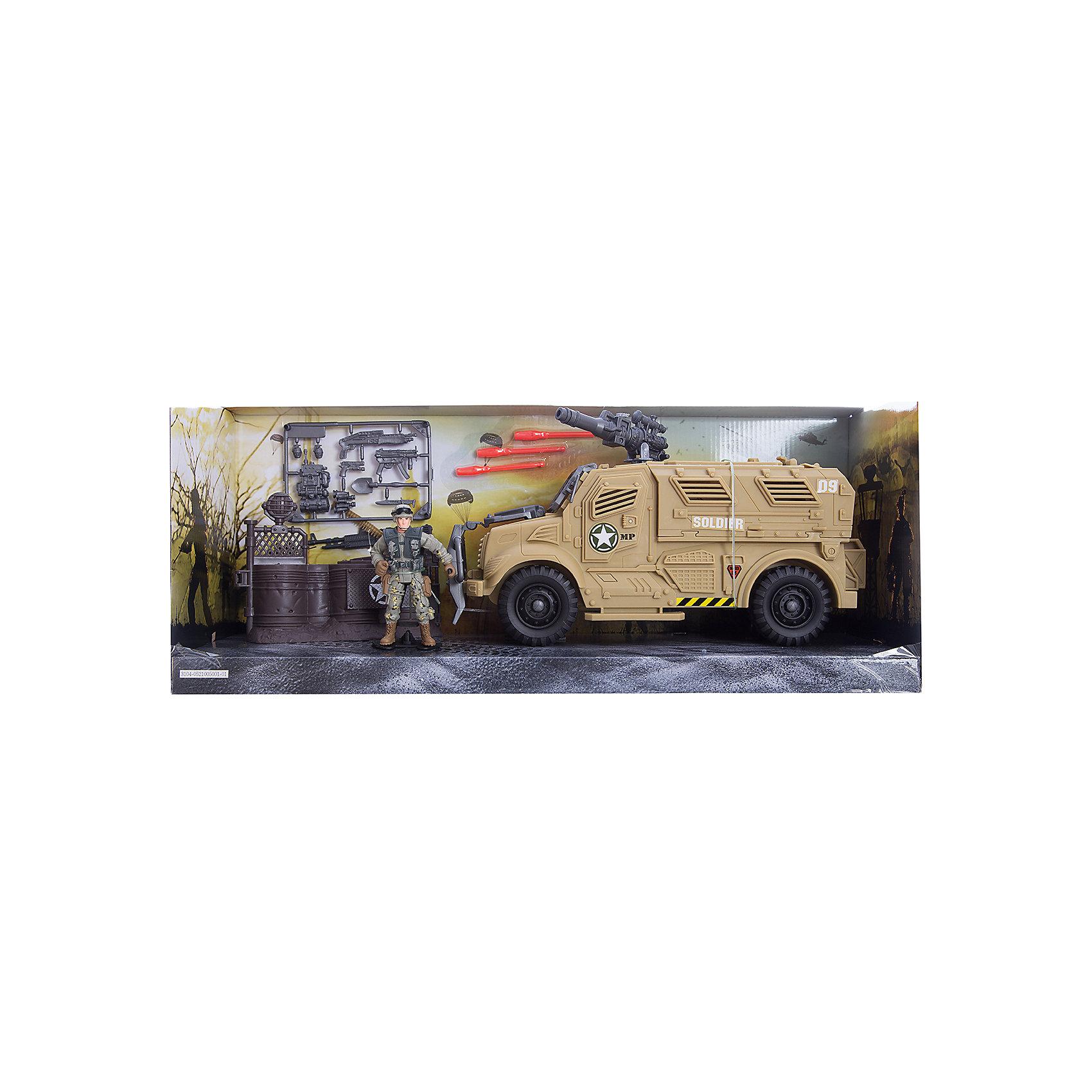 Игровой набор Бронемобиль пехоты, Chap MeiСолдатики и рыцари<br>Игровой набор Бронемобиль пехоты, Chap Mei.<br><br>Характеристики:<br><br>- В наборе: фигурка военного, бронемобиль, 3 ракеты - патрона, дополнительная экипировка и вооружение<br>- Материал: пластик<br>- Упаковка: картонная коробка блистерного типа.<br>- Размер упаковки: 53 х 15 х 22 см.<br><br>Бронемобиль пехоты от компании Chap Mei - это потрясающий игровой набор из серии Solder Force VIII, с которым мальчику точно не придется скучать. В наборе есть солдат, а также множество различных аксессуаров для него, включая экипировку и оружие. Входящий в набор бронемобиль, оснащен пушкой, стреляющей ракетами. Все элементы набора изготовлены из качественного пластика и тщательно детализированы. Игровой набор способствует развитию у ребенка воображения, внимания и мелкой моторики.<br><br>Игровой набор Бронемобиль пехоты, Chap Mei можно купить в нашем интернет-магазине.<br><br>Ширина мм: 53<br>Глубина мм: 15<br>Высота мм: 21<br>Вес г: 983<br>Возраст от месяцев: 36<br>Возраст до месяцев: 2147483647<br>Пол: Мужской<br>Возраст: Детский<br>SKU: 5055436