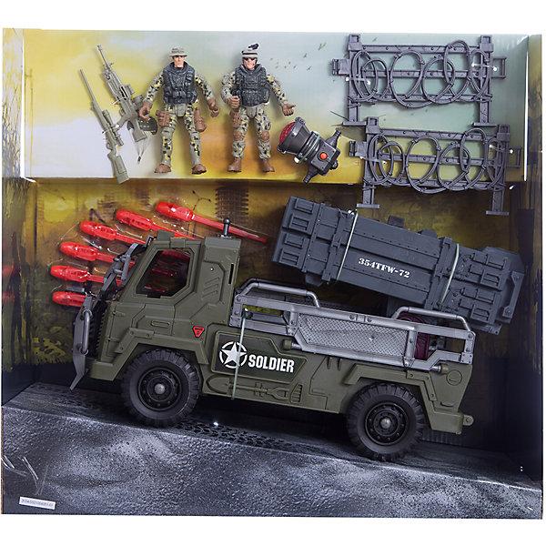Игровой набор Бронемобиль пехоты, Chap MeiСолдатики и рыцари<br>Игровой набор Бронемобиль пехоты, Chap Mei.<br><br>Характеристики:<br><br>- цвет: разноцветный;<br>- материал: пластик, металл;<br>- комплектация: бронемобиль, 3 ракетные установки, 6 ракет, прожектор;<br>- вес: 1435 г;<br>- упаковка: коробка;<br>- работает на 2х батарейках AG10<br>(включены в набор);<br>- размер упаковки: 41x18x38 см.<br><br>Игровой набор Бронемобиль пехоты, Chap Mei поможет ребенку погрузиться в увлекательный мир боевой техники и секретных спецопераций. В наборе есть фигурки вооруженных солдат, заборы из колючей проволоки и бронемобиль, оснащенный ракетной установкой, которая вращается и стреляет ракетами. На крыше кабины боевой машины установлен прожектор со световыми эффектами. Все элементы набора изготовлены из качественного пластика и тщательно детализированы. Игровой набор способствует развитию у ребенка воображения, внимания и мелкой моторики.<br><br>Игровой набор Бронемобиль пехоты, Chap Mei можно купить в нашем интернет-магазине.<br>Ширина мм: 41; Глубина мм: 17; Высота мм: 38; Вес г: 1435; Возраст от месяцев: 36; Возраст до месяцев: 2147483647; Пол: Мужской; Возраст: Детский; SKU: 5055437;