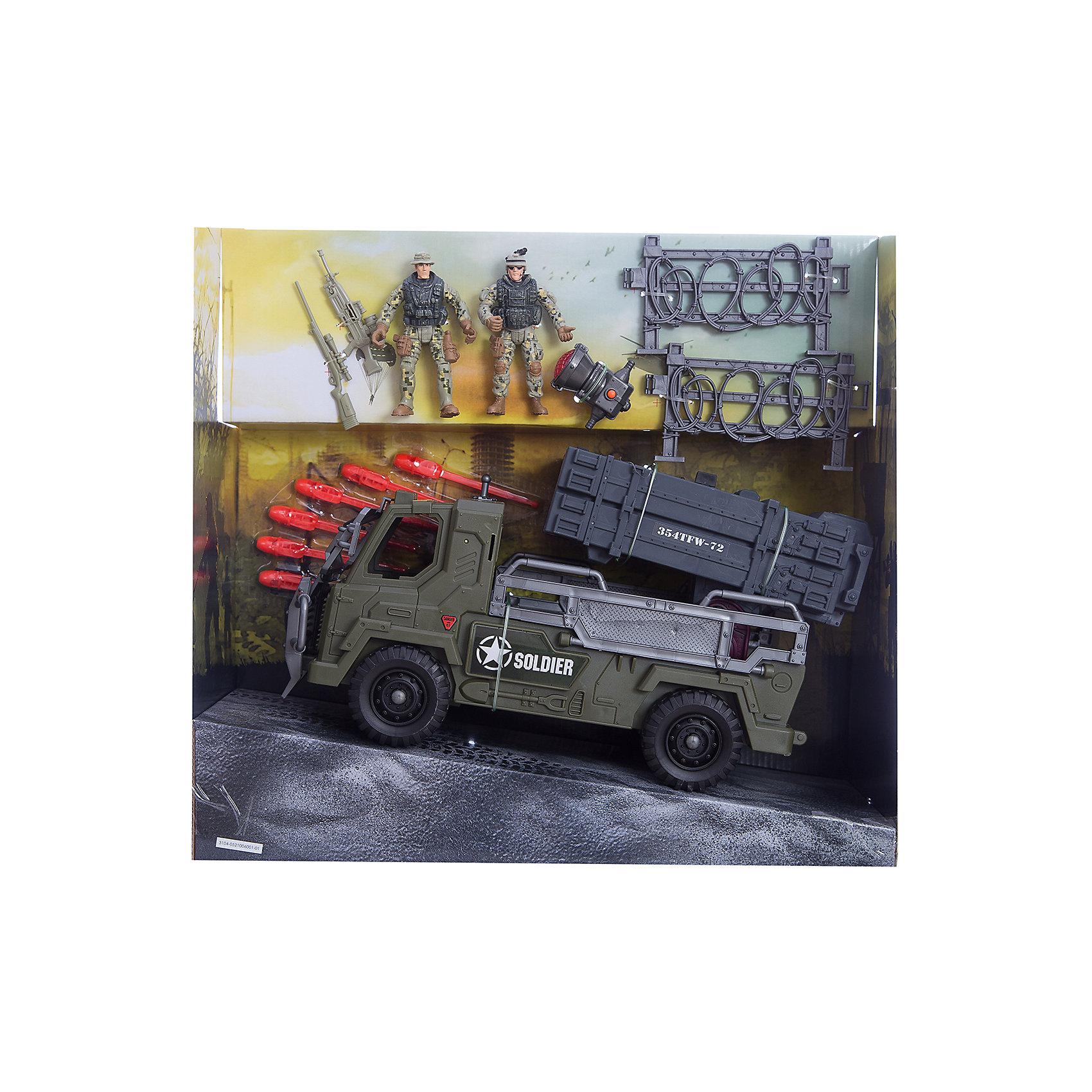 Игровой набор Бронемобиль пехоты, Chap MeiСолдатики и рыцари<br>Игровой набор Бронемобиль пехоты, Chap Mei.<br><br>Характеристики:<br><br>- цвет: разноцветный;<br>- материал: пластик, металл;<br>- комплектация: бронемобиль, 3 ракетные установки, 6 ракет, прожектор;<br>- вес: 1435 г;<br>- упаковка: коробка;<br>- работает на 2х батарейках AG10<br>(включены в набор);<br>- размер упаковки: 41x18x38 см.<br><br>Игровой набор Бронемобиль пехоты, Chap Mei поможет ребенку погрузиться в увлекательный мир боевой техники и секретных спецопераций. В наборе есть фигурки вооруженных солдат, заборы из колючей проволоки и бронемобиль, оснащенный ракетной установкой, которая вращается и стреляет ракетами. На крыше кабины боевой машины установлен прожектор со световыми эффектами. Все элементы набора изготовлены из качественного пластика и тщательно детализированы. Игровой набор способствует развитию у ребенка воображения, внимания и мелкой моторики.<br><br>Игровой набор Бронемобиль пехоты, Chap Mei можно купить в нашем интернет-магазине.<br><br>Ширина мм: 41<br>Глубина мм: 17<br>Высота мм: 38<br>Вес г: 1435<br>Возраст от месяцев: 36<br>Возраст до месяцев: 2147483647<br>Пол: Мужской<br>Возраст: Детский<br>SKU: 5055437