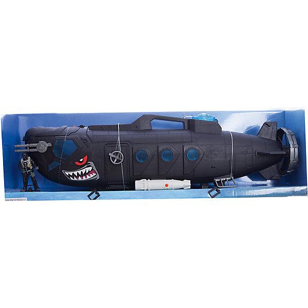 Игровой набор Боевая субмарина с батискафом, Chap MeiСолдатики и рыцари<br>Игровой набор Боевая субмарина с батискафом, Chap Mei.<br><br>Характеристики:<br><br>- цвет: разноцветный;<br>- материал: пластик;<br>- работает на батарейках 3 x AG13, включены в набор;<br>- особенности: субмарина со звуком и светом;<br>- упаковка: коробка;<br>- комплектация: ракетная установка на 12 ракет, батискаф с двумя ракетами;<br>- размер упаковки: 76x17x24 см.<br><br>Замечательный игровой набор Chap Mei Боевая субмарина с батискафом включает в себя все, что нужно для настоящего любителя и ценителя игровых военных действий. Боевая субмарина Черная акула стреляет торпедами, запас которых хранится в верхней части судна. Корпус игрушки детально проработан и оформлен в расцветке хищной акулы. Носовая и центральная часть корпуса открываются. Подводная лодка озвучена, люки в носовой части лодки подсвечиваются ярким синим цветом, что только добавляет реалистичности игре, а дополнительное оснащение субмарины: батискаф с 2-мя ракетами и надувная шлюпка разнообразит сюжеты игр и варианты развития событий - абсолютно каждый мальчуган будет в восторге. Все элементы набора изготовлены из качественного пластика.<br><br>Игровой набор Боевая субмарина с батискафом, Chap Mei можно купить в нашем интернет-магазине.<br><br>Ширина мм: 76<br>Глубина мм: 17<br>Высота мм: 24<br>Вес г: 2350<br>Возраст от месяцев: 36<br>Возраст до месяцев: 2147483647<br>Пол: Мужской<br>Возраст: Детский<br>SKU: 5055440