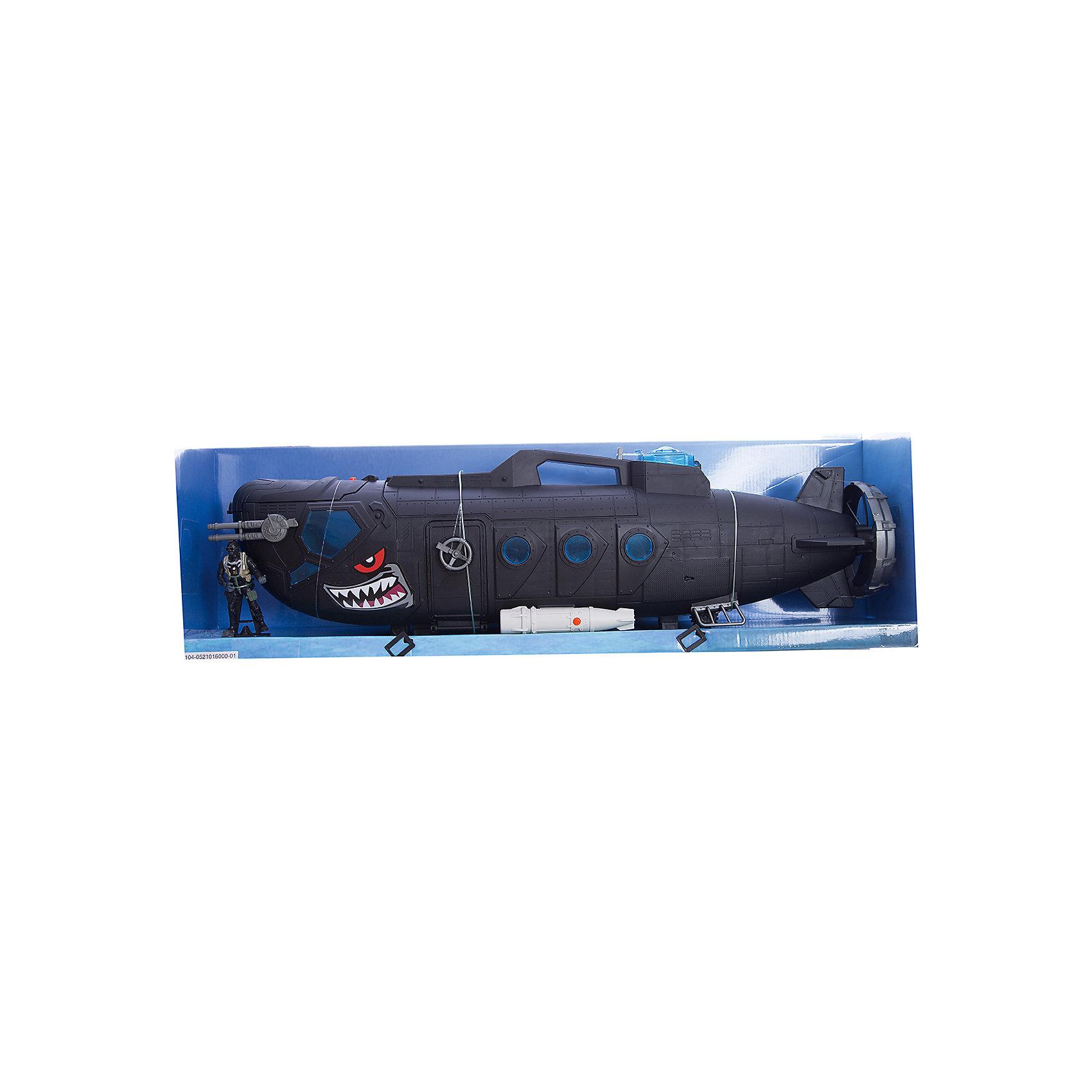 Игровой набор Боевая субмарина с батискафом, Chap MeiИгровой набор Боевая субмарина с батискафом, Chap Mei.<br><br>Характеристики:<br><br>- цвет: разноцветный;<br>- материал: пластик;<br>- работает на батарейках 3 x AG13, включены в набор;<br>- особенности: субмарина со звуком и светом;<br>- упаковка: коробка;<br>- комплектация: ракетная установка на 12 ракет, батискаф с двумя ракетами;<br>- размер упаковки: 76x17x24 см.<br><br>Замечательный игровой набор Chap Mei Боевая субмарина с батискафом включает в себя все, что нужно для настоящего любителя и ценителя игровых военных действий. Боевая субмарина Черная акула стреляет торпедами, запас которых хранится в верхней части судна. Корпус игрушки детально проработан и оформлен в расцветке хищной акулы. Носовая и центральная часть корпуса открываются. Подводная лодка озвучена, люки в носовой части лодки подсвечиваются ярким синим цветом, что только добавляет реалистичности игре, а дополнительное оснащение субмарины: батискаф с 2-мя ракетами и надувная шлюпка разнообразит сюжеты игр и варианты развития событий - абсолютно каждый мальчуган будет в восторге. Все элементы набора изготовлены из качественного пластика.<br><br>Игровой набор Боевая субмарина с батискафом, Chap Mei можно купить в нашем интернет-магазине.<br><br>Ширина мм: 76<br>Глубина мм: 17<br>Высота мм: 24<br>Вес г: 2350<br>Возраст от месяцев: 36<br>Возраст до месяцев: 2147483647<br>Пол: Мужской<br>Возраст: Детский<br>SKU: 5055440