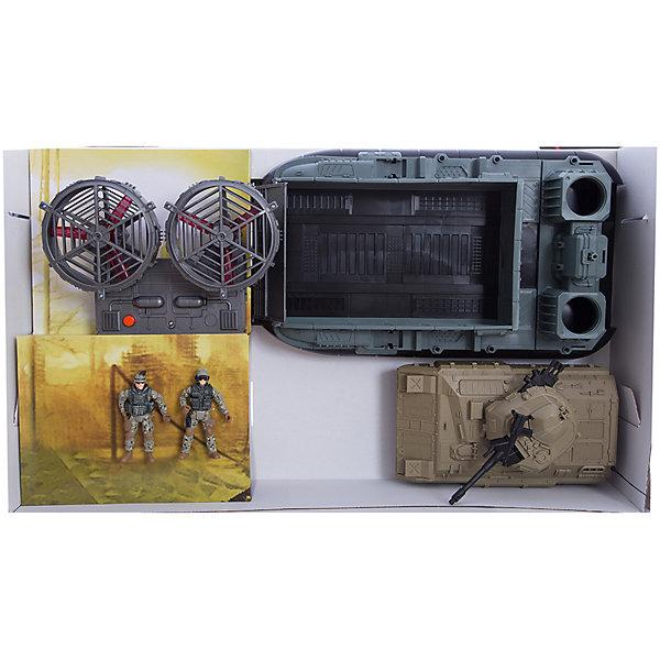 Игровой набор Морская десантная операция, Chap MeiСолдатики, люди и рыцари<br>Игровой набор Морская десантная операция, Chap Mei.<br><br>Характеристики:<br><br>- цвет: разноцветный;<br>- материал: пластик;<br>- работает на батарейках 3 x АА, включены в набор;<br>- особенности: морская десантная лодка на воздушной подушке с вращающимися винтами со светом;<br>- упаковка: коробка;<br>- комплектация: 2 ракетные установки, 4 ракеты, танк, 2<br>двигающихся солдатика, оружие;<br>- размер упаковки: 71x18x42 см.<br><br>Игровой набор, состоящий из боевой десантной лодки на воздушной подушке с ракетными установками и танком, и команды военных, обслуживающих ее, будет очень желанным подарком для мальчика и поможет ребенку погрузиться в мир, полный захватывающих приключений и секретных операций. Корпус военной лодки детально проработан, игрушка оснащена световыми эффектами и вращающимися винтами, что только добавляет реалистичности игре, а дополнительное оснащение судна: ракетные установки и боевой танк разнообразят сюжет игры и варианты развития событий - абсолютно каждый мальчуган будет в восторге.<br><br>Игровой набор Морская десантная операция, Chap Mei можно купить в нашем интернет-магазине.<br>Ширина мм: 71; Глубина мм: 17; Высота мм: 41; Вес г: 2700; Возраст от месяцев: 36; Возраст до месяцев: 2147483647; Пол: Мужской; Возраст: Детский; SKU: 5055441;