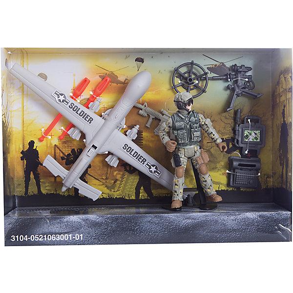Игровой набор Разведчик с беспилотником, Chap MeiСолдатики и рыцари<br>Игровой набор Разведчик с беспилотником, Chap Mei.<br><br>Характеристики:<br><br>- цвет: разноцветный;<br>- материал: пластик;<br>- вес: 217 г;<br>- упаковка: коробка;<br>- комплектация: беспилотник, солдатик, аксессуары;<br>- размер упаковки: 25x17x6 см.<br><br>Набор Разведчик с беспилотником, Chap Mei - это потрясающий игровой набор из серии Solder Force VIII, с которым мальчику точно не придется скучать. Ведь с таким набором можно обыграть практически любой современный сюжет, связанный с военными действиями. Для максимального удовольствия от игрового процесса в данном комплекте предусмотрено множество аксессуаров. Все элементы набора изготовлены из качественного пластика и тщательно детализированы. Игровой набор способствует развитию у ребенка воображения, внимания и мелкой моторики.<br><br>Игровой набор Разведчик с беспилотником, Chap Mei можно купить в нашем интернет-магазине.<br>Ширина мм: 24; Глубина мм: 6; Высота мм: 17; Вес г: 217; Возраст от месяцев: 36; Возраст до месяцев: 2147483647; Пол: Мужской; Возраст: Детский; SKU: 5055442;