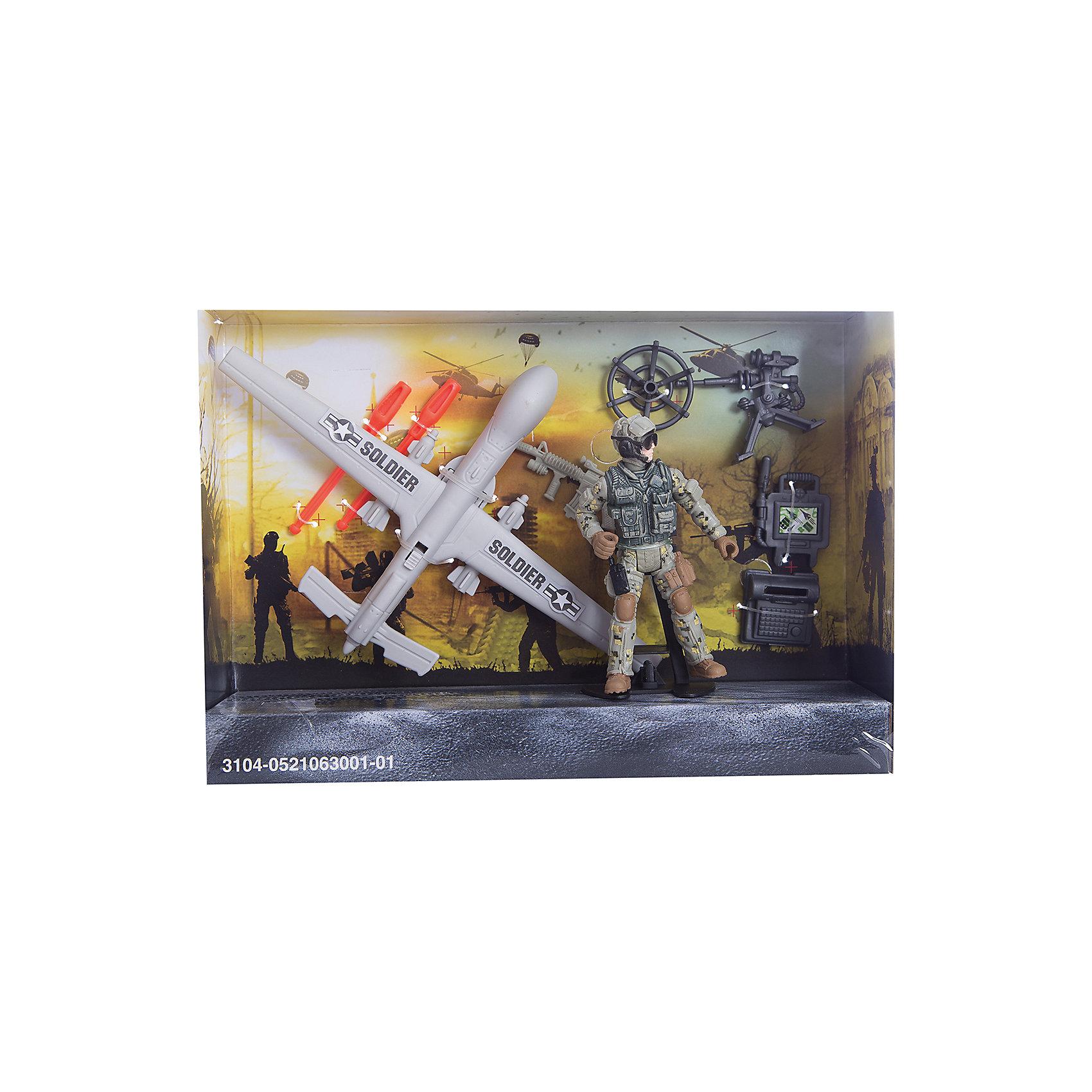 Игровой набор Разведчик с беспилотником, Chap MeiИгровой набор Разведчик с беспилотником, Chap Mei.<br><br>Характеристики:<br><br>- цвет: разноцветный;<br>- материал: пластик;<br>- вес: 217 г;<br>- упаковка: коробка;<br>- комплектация: беспилотник, солдатик, аксессуары;<br>- размер упаковки: 25x17x6 см.<br><br>Набор Разведчик с беспилотником, Chap Mei - это потрясающий игровой набор из серии Solder Force VIII, с которым мальчику точно не придется скучать. Ведь с таким набором можно обыграть практически любой современный сюжет, связанный с военными действиями. Для максимального удовольствия от игрового процесса в данном комплекте предусмотрено множество аксессуаров. Все элементы набора изготовлены из качественного пластика и тщательно детализированы. Игровой набор способствует развитию у ребенка воображения, внимания и мелкой моторики.<br><br>Игровой набор Разведчик с беспилотником, Chap Mei можно купить в нашем интернет-магазине.<br><br>Ширина мм: 24<br>Глубина мм: 6<br>Высота мм: 17<br>Вес г: 217<br>Возраст от месяцев: 36<br>Возраст до месяцев: 2147483647<br>Пол: Мужской<br>Возраст: Детский<br>SKU: 5055442