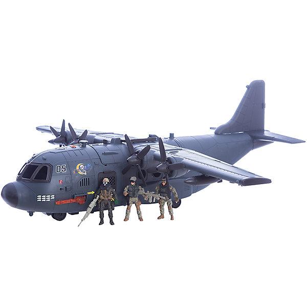 Игровой набор Военно-транспортный самолет, Chap MeiСолдатики, люди и рыцари<br>Игровой набор Военно-транспортный самолет, Chap Mei.<br><br>Характеристики:<br><br>- В наборе: самолет, 3 фигурки солдат, аксессуары<br>- Длина размаха крыла: 85 см.<br>- Размер самолета: 75х30 см.<br>- Батарейки: 3 типа AG13<br>- Материал: пластик<br>- Размер упаковки: 78 х 36 х 30 см.<br><br>Набор Военно-транспортный самолет, Chap Mei - это потрясающий игровой набор из серии Solder Force VIII, с которым мальчику точно не придется скучать. Ведь с таким набором можно обыграть практически любой современный сюжет, связанный с военными действиями. Огромный транспортный самолет со световыми и звуковыми эффектами всегда готов к полету. В его кабину можно посадить фигурку пилота. А для транспортировки грузов у самолета открывается люк. Для максимального удовольствия от игрового процесса в данном комплекте предусмотрено множество аксессуаров. Все элементы набора изготовлены из качественного пластика и тщательно детализированы. Игровой набор способствует развитию у ребенка воображения, внимания и мелкой моторики.<br><br>Игровой набор Военно-транспортный самолет, Chap Mei можно купить в нашем интернет-магазине.<br>Ширина мм: 77; Глубина мм: 36; Высота мм: 30; Вес г: 3150; Возраст от месяцев: 36; Возраст до месяцев: 2147483647; Пол: Мужской; Возраст: Детский; SKU: 5055445;