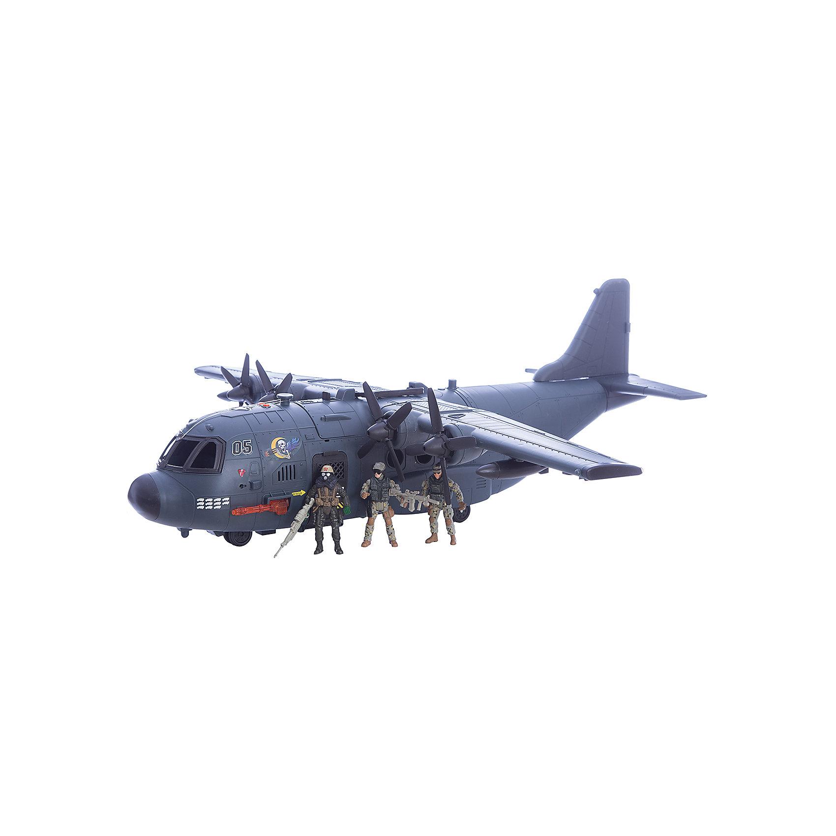Игровой набор Военно-транспортный самолет, Chap MeiСолдатики и рыцари<br>Игровой набор Военно-транспортный самолет, Chap Mei.<br><br>Характеристики:<br><br>- В наборе: самолет, 3 фигурки солдат, аксессуары<br>- Длина размаха крыла: 85 см.<br>- Размер самолета: 75х30 см.<br>- Батарейки: 3 типа AG13<br>- Материал: пластик<br>- Размер упаковки: 78 х 36 х 30 см.<br><br>Набор Военно-транспортный самолет, Chap Mei - это потрясающий игровой набор из серии Solder Force VIII, с которым мальчику точно не придется скучать. Ведь с таким набором можно обыграть практически любой современный сюжет, связанный с военными действиями. Огромный транспортный самолет со световыми и звуковыми эффектами всегда готов к полету. В его кабину можно посадить фигурку пилота. А для транспортировки грузов у самолета открывается люк. Для максимального удовольствия от игрового процесса в данном комплекте предусмотрено множество аксессуаров. Все элементы набора изготовлены из качественного пластика и тщательно детализированы. Игровой набор способствует развитию у ребенка воображения, внимания и мелкой моторики.<br><br>Игровой набор Военно-транспортный самолет, Chap Mei можно купить в нашем интернет-магазине.<br><br>Ширина мм: 77<br>Глубина мм: 36<br>Высота мм: 30<br>Вес г: 3150<br>Возраст от месяцев: 36<br>Возраст до месяцев: 2147483647<br>Пол: Мужской<br>Возраст: Детский<br>SKU: 5055445