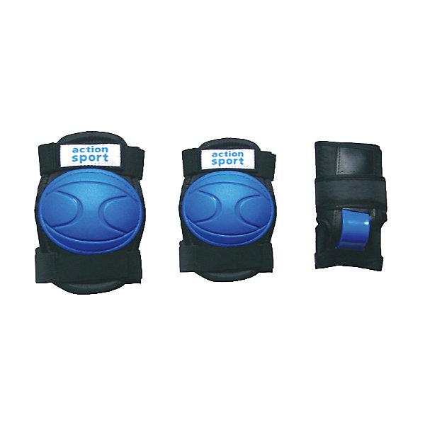 Защита локтя, запястья, колена р.M, ActionХоккей и зимний инвентарь<br>Основные характеристики<br><br>Комплектность: наколенник - 2шт., налокотник - 2шт., наладонник - 2шт.<br>Размер: M (соответствует размерам коньков 34-40)<br>Материалы: основа - нейлон, защитные накладки - поливинилхлорид<br>Цвет: черный/синий<br>Вид использования: любительское катание на роликовых коньках <br>Страна-производитель: Китай<br>Упаковка: полиэтиленовый пакет с европодвесом<br><br>Наиболее распространённой является тройная защита – наколенники, налокотники и наладонники со специальными пластинами на запястьях. Такой набор защиты для катания на роликовых коньках считается оптимальным, предохраняя от травм самые уязвимые места при катании.<br><br>Ширина мм: 10<br>Глубина мм: 350<br>Высота мм: 160<br>Вес г: 300<br>Возраст от месяцев: 36<br>Возраст до месяцев: 192<br>Пол: Унисекс<br>Возраст: Детский<br>SKU: 5056593
