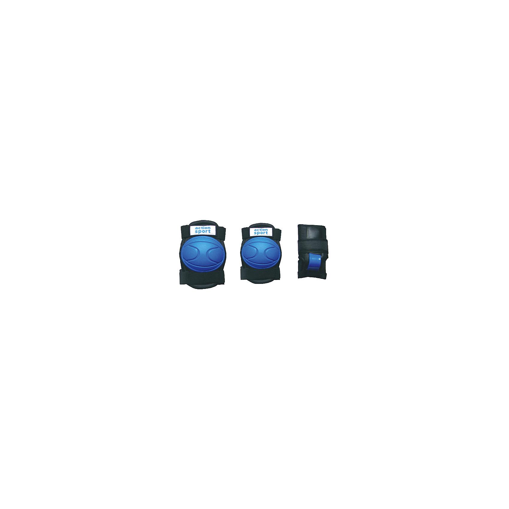 Защита локтя, запястья, колена р.M, ActionОсновные характеристики<br><br>Комплектность: наколенник - 2шт., налокотник - 2шт., наладонник - 2шт.<br>Размер: M (соответствует размерам коньков 34-40)<br>Материалы: основа - нейлон, защитные накладки - поливинилхлорид<br>Цвет: черный/синий<br>Вид использования: любительское катание на роликовых коньках <br>Страна-производитель: Китай<br>Упаковка: полиэтиленовый пакет с европодвесом<br><br>Наиболее распространённой является тройная защита – наколенники, налокотники и наладонники со специальными пластинами на запястьях. Такой набор защиты для катания на роликовых коньках считается оптимальным, предохраняя от травм самые уязвимые места при катании.<br><br>Ширина мм: 10<br>Глубина мм: 350<br>Высота мм: 160<br>Вес г: 300<br>Возраст от месяцев: 36<br>Возраст до месяцев: 192<br>Пол: Унисекс<br>Возраст: Детский<br>SKU: 5056593
