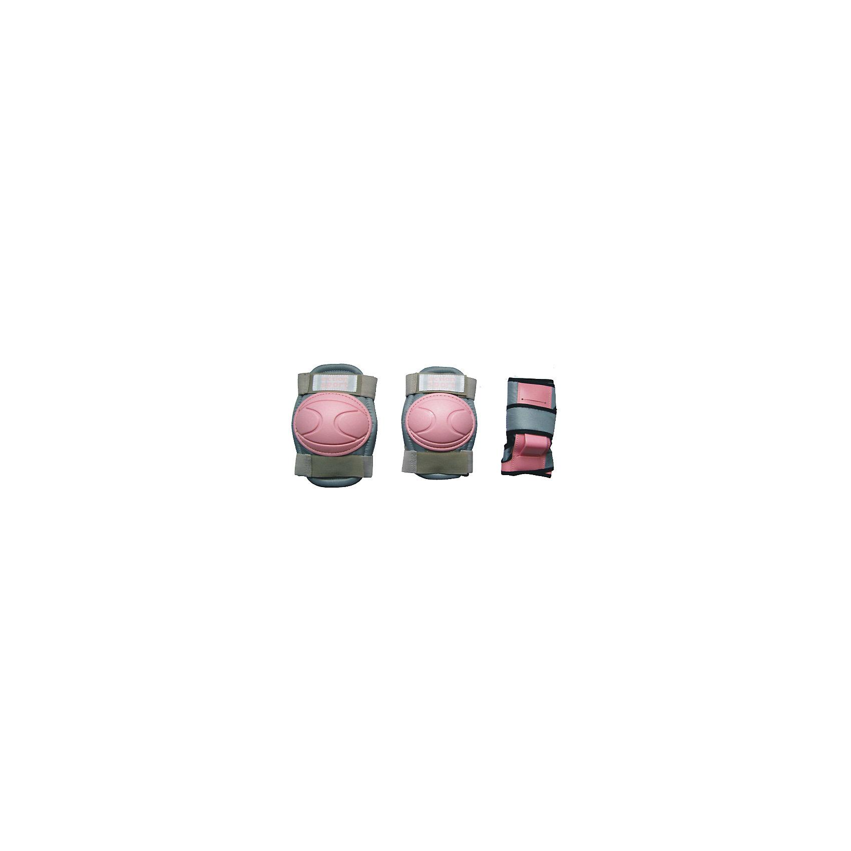 Защита локтя, запястья, колена р.L, ActionОсновные характеристики<br><br>Комплектность: наколенник - 2шт., налокотник - 2шт., наладонник - 2шт.<br>Размер: L (соответствует размерам коньков 38-43)<br>Материалы: основа - нейлон, защитные накладки - поливинилхлорид<br>Цвет: серый/розовый<br>Вид использования: любительское катание на роликовых коньках <br>Страна-производитель: Китай<br>Упаковка: полиэтиленовый пакет с европодвесом<br><br>Наиболее распространённой является тройная защита – наколенники, налокотники и наладонники со специальными пластинами на запястьях. Такой набор защиты для катания на роликовых коньках считается оптимальным, предохраняя от травм самые уязвимые места при катании.<br><br>Ширина мм: 10<br>Глубина мм: 350<br>Высота мм: 160<br>Вес г: 300<br>Возраст от месяцев: 36<br>Возраст до месяцев: 192<br>Пол: Унисекс<br>Возраст: Детский<br>SKU: 5056595
