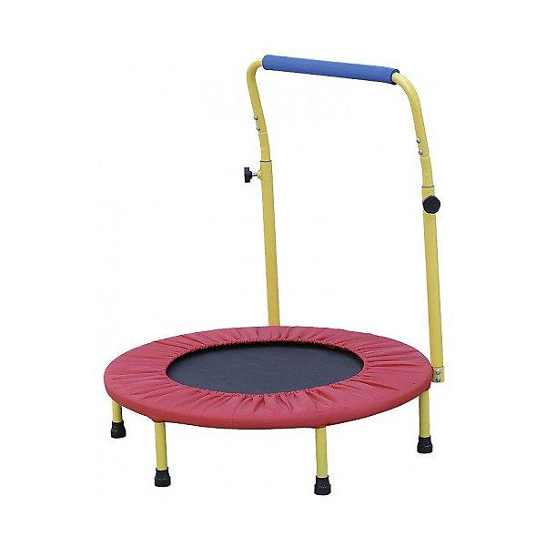 """Батут (36) складной с ручкой , Z-SportsБатуты<br>Батут - это идеальный тренажер для всей семьи. Батут развивает координацию движений, вестибулярный аппарат, многие группы мышц, весёлая профилактика и лечение плоскостопия и сколиозов (искривление позвоночника).<br>Дети, прыгая на батуте, развивают координацию движений, тренируют вестибулярный аппарат. По сравнению с бегом трусцой Вы получаете значительно меньшую ударную нагрузку на колени, лодыжки и поясницу Кроме всего прочего, прыжки на батуте это удовольствие и гарантированное прекрасное настроение.<br><br>Описание и характеристики:<br><br>Батут подходит для использования дома, в спортивном зале и даже на открытом воздухе.<br>Собирается и разбирается в течение нескольких минут. Складывается вчетверо.<br>При сборке будьте внимательны, берегите Ваши руки.<br>Не привлекайте детей для сборки батута.<br><br>Размер: 36"""" (91,44см)<br>Основная рама: материал - гальванизированная сталь<br>Диаметр трубы - 25мм, толщина стали - 1,2мм<br>Высота: 22,5см (с учетом ручки - 81см)<br>Комплектность: 6 ножек (25*1,5мм), 24 эластичных жгута, ручка, защитный чехол.<br>Материалы подкладки: ткань Oxford (0,15мм), вспененный полипропилен (4,5мм), прозрачная пленка (0,1мм)<br>Вес: 6кг<br>Максимальный вес пользователя: 60кг<br>Цвет: черный/синий<br>Страна-производитель: Китай<br>Упаковка: картонная коробка.<br><br>Упражнения на батуте способствуют:<br><br>- улучшению мышечного тонуса и кровообращения;<br>- укреплению сердечно-сосудистой системы; <br>- развитию координации движений;<br>- тренировке вестибулярного аппарата;<br>- стимуляции дренажа лимфатической системы;<br>- восстановлению после травм суставов.<br>Ширина мм: 720; Глубина мм: 370; Высота мм: 250; Вес г: 6000; Возраст от месяцев: 36; Возраст до месяцев: 192; Пол: Унисекс; Возраст: Детский; SKU: 5056599;"""