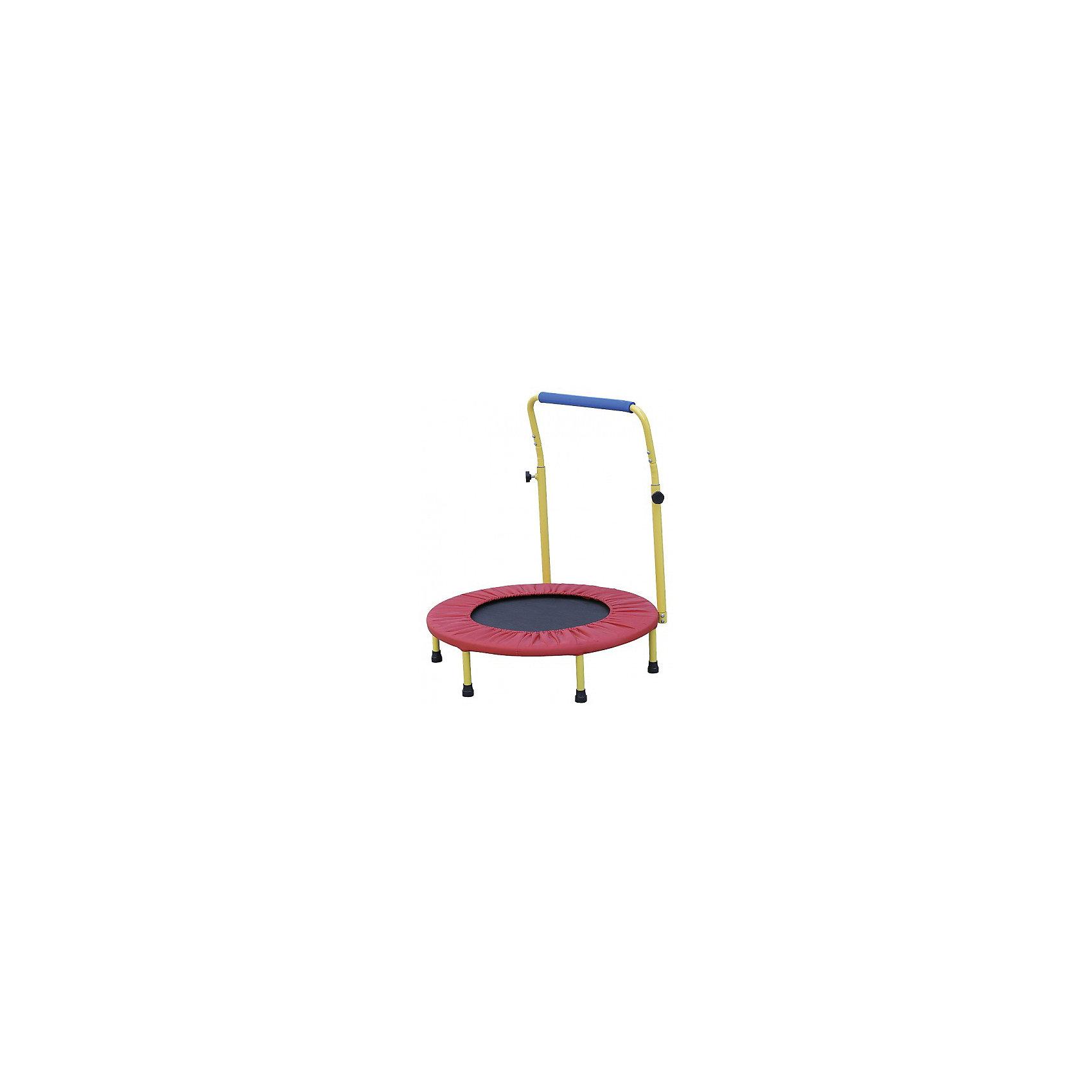 """Батут (36) складной с ручкой , Z-SportsБатуты<br>Батут - это идеальный тренажер для всей семьи. Батут развивает координацию движений, вестибулярный аппарат, многие группы мышц, весёлая профилактика и лечение плоскостопия и сколиозов (искривление позвоночника).<br>Дети, прыгая на батуте, развивают координацию движений, тренируют вестибулярный аппарат. По сравнению с бегом трусцой Вы получаете значительно меньшую ударную нагрузку на колени, лодыжки и поясницу Кроме всего прочего, прыжки на батуте это удовольствие и гарантированное прекрасное настроение.<br><br>Описание и характеристики:<br><br>Батут подходит для использования дома, в спортивном зале и даже на открытом воздухе.<br>Собирается и разбирается в течение нескольких минут. Складывается вчетверо.<br>При сборке будьте внимательны, берегите Ваши руки.<br>Не привлекайте детей для сборки батута.<br><br>Размер: 36"""" (91,44см)<br>Основная рама: материал - гальванизированная сталь<br>Диаметр трубы - 25мм, толщина стали - 1,2мм<br>Высота: 22,5см (с учетом ручки - 81см)<br>Комплектность: 6 ножек (25*1,5мм), 24 эластичных жгута, ручка, защитный чехол.<br>Материалы подкладки: ткань Oxford (0,15мм), вспененный полипропилен (4,5мм), прозрачная пленка (0,1мм)<br>Вес: 6кг<br>Максимальный вес пользователя: 60кг<br>Цвет: черный/синий<br>Страна-производитель: Китай<br>Упаковка: картонная коробка.<br><br>Упражнения на батуте способствуют:<br><br>- улучшению мышечного тонуса и кровообращения;<br>- укреплению сердечно-сосудистой системы; <br>- развитию координации движений;<br>- тренировке вестибулярного аппарата;<br>- стимуляции дренажа лимфатической системы;<br>- восстановлению после травм суставов.<br><br>Ширина мм: 720<br>Глубина мм: 370<br>Высота мм: 250<br>Вес г: 6000<br>Возраст от месяцев: 36<br>Возраст до месяцев: 192<br>Пол: Унисекс<br>Возраст: Детский<br>SKU: 5056599"""