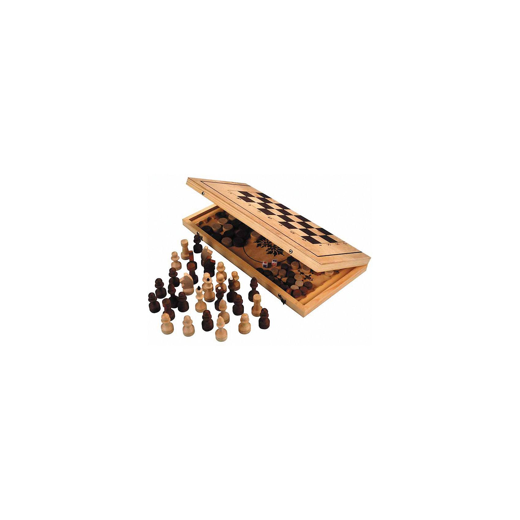 Игра 3 в 1, деревяннаяОсновные характеристики<br><br>Назначение: настольная игра<br>Вид: классическая<br>В наборе: шахматы, нарды, шашки<br>Размер: 29*14,5*3,8см <br>Материал: доска - фанера, сосна; фигуры - береза<br>Страна-производитель: Россия<br>Упаковка: пакет<br><br>Ширина мм: 220<br>Глубина мм: 40<br>Высота мм: 410<br>Вес г: 980<br>Возраст от месяцев: 36<br>Возраст до месяцев: 192<br>Пол: Унисекс<br>Возраст: Детский<br>SKU: 5056604