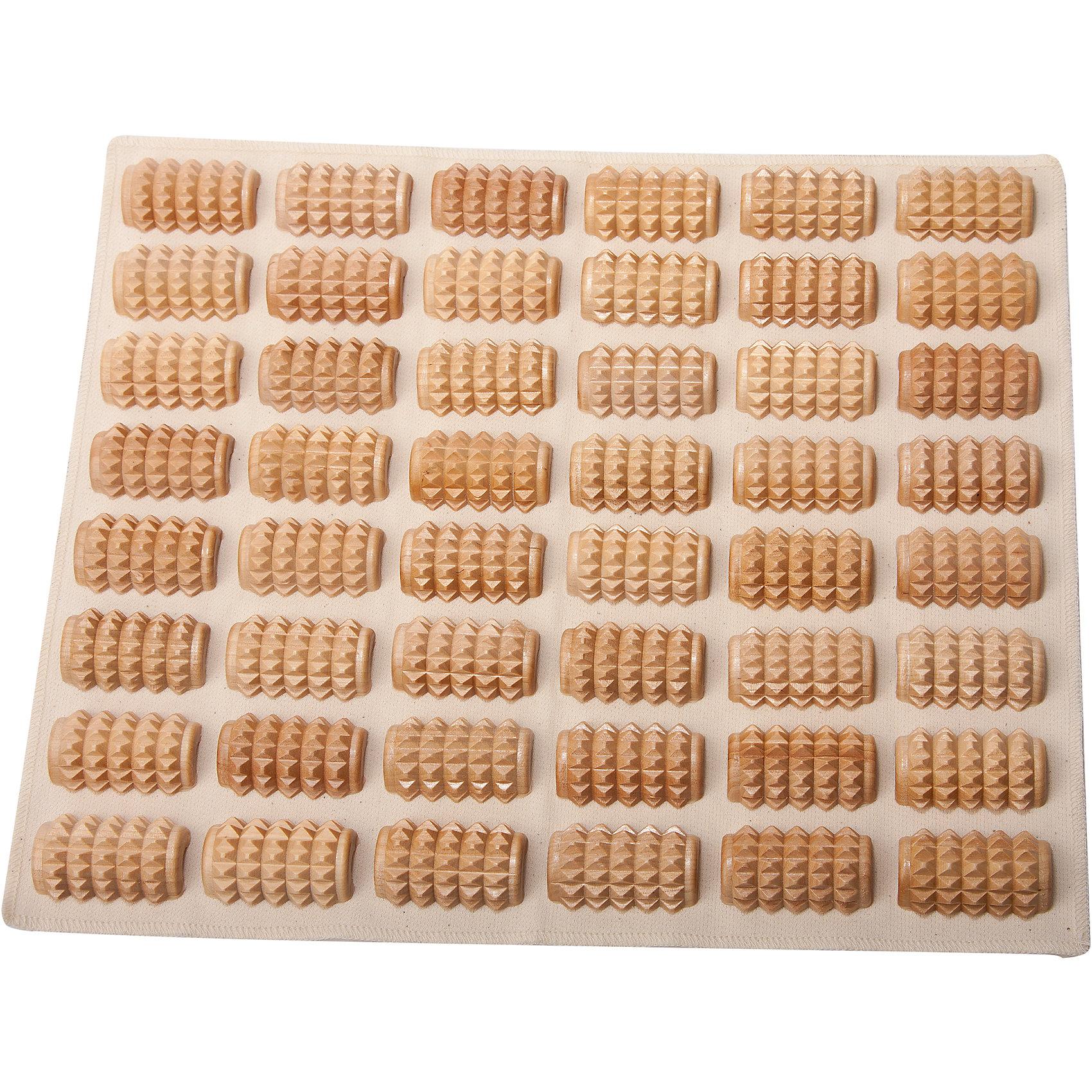 Массажный коврик Панцирь 285х710, ТимбэМассажеры<br>Основные характеристики<br><br>Размер: 285*710мм<br>Материал: береза, саржа суровая хлопчатобумажная (состав: хлопок 100%, плотность 260)<br>Цвет: натуральная древесина<br>Назначение: для спины, шеи, поясницы, ягодиц, стоп <br>Страна-производитель: Россия<br>Упаковка: пакет с европодвесом<br><br>На ступнях человека расположено около 70000 нервных окончаний, которые образуют рефлекторные зоны, связанные с определенными внутренними органами. При их массаже происходит активация защитных функций организма. Массажеры для стоп позволят самостоятельно проводить несложный массаж, не требующий специальных навыков!<br>Стояние и ходьба на месте босяком на коврике имитирует оздоровительную ходьбу по гальке.<br><br>Ширина мм: 185<br>Глубина мм: 50<br>Высота мм: 300<br>Вес г: 660<br>Возраст от месяцев: 36<br>Возраст до месяцев: 192<br>Пол: Унисекс<br>Возраст: Детский<br>SKU: 5056609