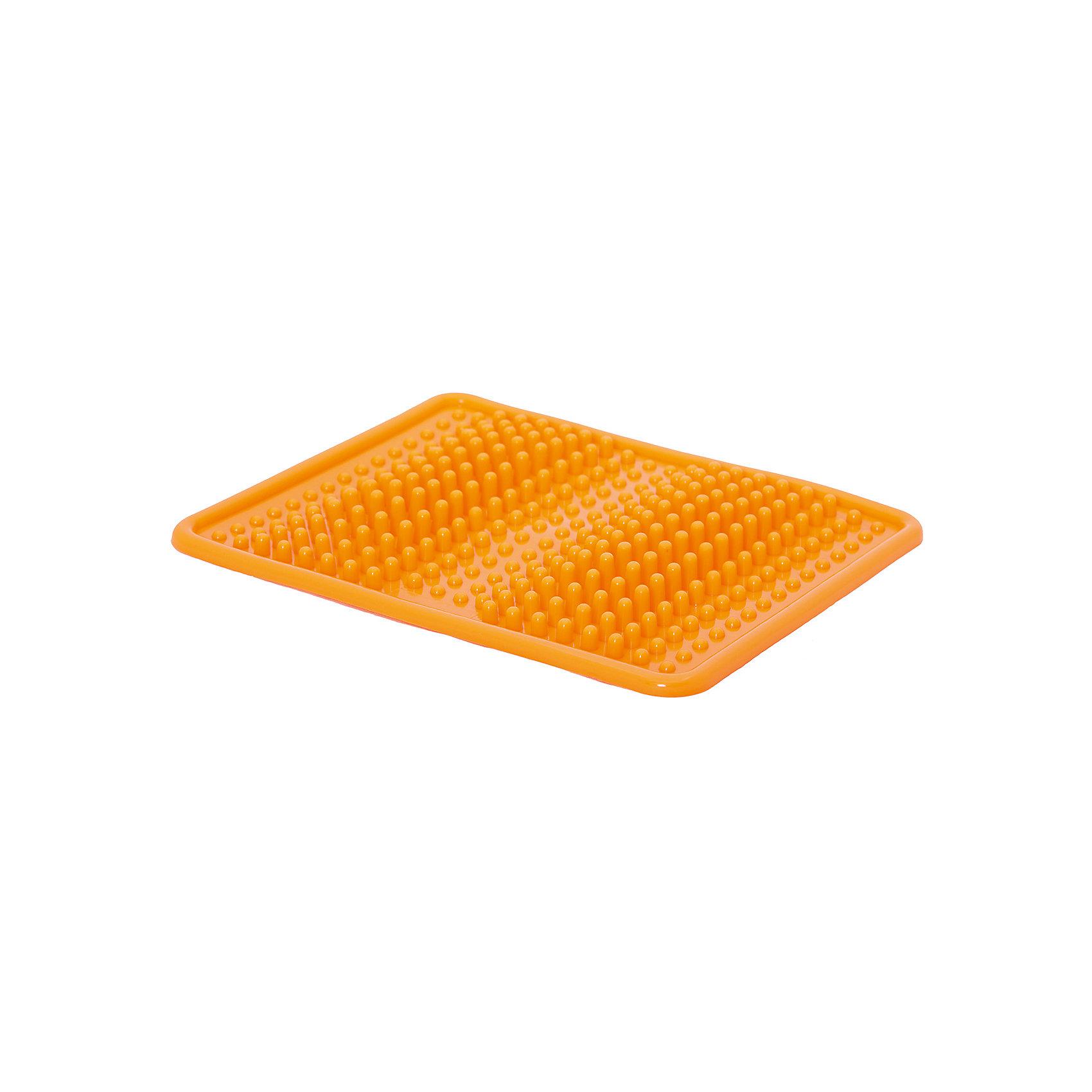 Коврик массажный, Z-SportsОсновные характеристики<br><br>Тип: массажный<br>Материалы: поливинилхлорид<br>Размер: 35*27*3см<br>Вес: 0,42кг<br>Цвет: оранжевый<br>Вид применения: массаж стоп<br>Страна-производитель: Китай<br>Упаковка: пакет с европодвесом<br><br>Ортопедический коврик прекрасно подходит как для лечения различных заболеваний, так и просто для расслабляющего оздоравливающего массажа стоп. Его использование рекомендовано при плоскостопии, нарушении опорно-двигательной функции стопы, ассиметричной и аритмичной ходьбе, деформациях стопы после хирургического вмешательства и т.д. <br>Расположенные на поверхности массажные бугорки стимулируют рецепторы, находящиеся на подошвенном отделе стопы, и благодаря этому коврик помогают улучшить тонус мышц и связок стопы, формированию физиологически правильного свода стоп, что крайне важно в детском возрасте.<br><br>Преимущества коврика ZS-950:<br>- оптимальный размер и вес;<br>- обеспечивает отличный массаж ног;<br>- стимулирует активные точки, расположенные на стопах;<br>- способствует релаксации мышц всего тела;<br>- применяется для профилактики плоскостопия.<br><br>Ширина мм: 30<br>Глубина мм: 350<br>Высота мм: 270<br>Вес г: 420<br>Возраст от месяцев: 36<br>Возраст до месяцев: 192<br>Пол: Унисекс<br>Возраст: Детский<br>SKU: 5056614