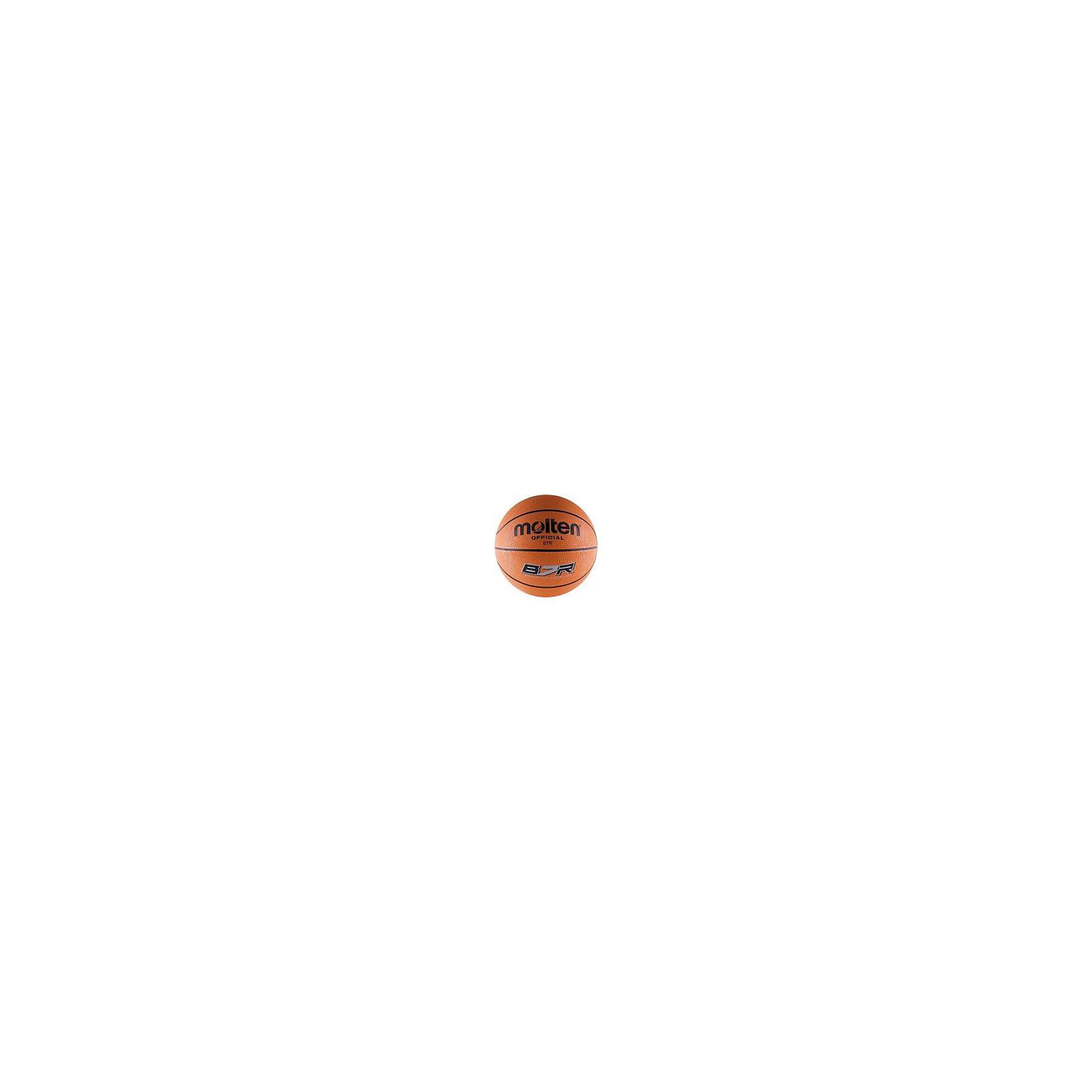 Баскетбольный мяч, B7R, р. 7, резина, оранж., MOLTENМячи детские<br>Основные характеристики<br><br>Вид: баскетбольный<br>Уровень игры: любительский<br>Размер: 7<br>Количество панелей: 8<br>Тип соединения панелей: клееный<br>Вес: 610гр<br>Окружность: 74.9-78см<br>Цвет основной: оранжевый<br>Цвет дополнительный: черный<br>Материал камеры: латексно-бутиловая<br>Материал обмотки камеры: нейлон<br>Материал покрышки: резина<br>Мяч подходит для игры на улице и в зале<br>Страна-производитель: Таиланд <br>Упаковка: пакет (поставляется в сдутом виде)<br><br>Ширина мм: 260<br>Глубина мм: 260<br>Высота мм: 50<br>Вес г: 610<br>Возраст от месяцев: 36<br>Возраст до месяцев: 192<br>Пол: Унисекс<br>Возраст: Детский<br>SKU: 5056630