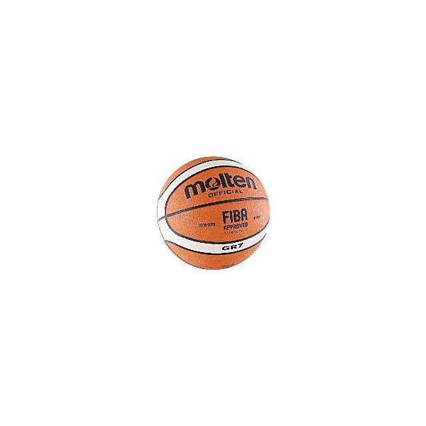 Баскетбольный мяч, BGR7-OI р. 7, резина, оранж-беж-черн., MOLTENМячи детские<br>Основные характеристики<br><br>Вид: баскетбольный<br>Уровень игры: любительский<br>Размер: 7<br>Количество панелей: 12<br>Тип соединения панелей: клееный<br>Вес: 620гр<br>Окружность: 74.9-78см<br>Цвет основной: оранжевый<br>Цвет дополнительный: черный, бежевый<br>Материал камеры: бутиловая<br>Материал обмотки камеры: нейлон<br>Материал покрышки: резина<br>Страна-производитель: Таиланд <br>Упаковка: пакет (поставляется в сдутом виде)<br><br>Сертификат FIBA Approved.<br>Шероховатая поверхность.<br>Ширина мм: 260; Глубина мм: 260; Высота мм: 50; Вес г: 620; Возраст от месяцев: 36; Возраст до месяцев: 192; Пол: Унисекс; Возраст: Детский; SKU: 5056631;