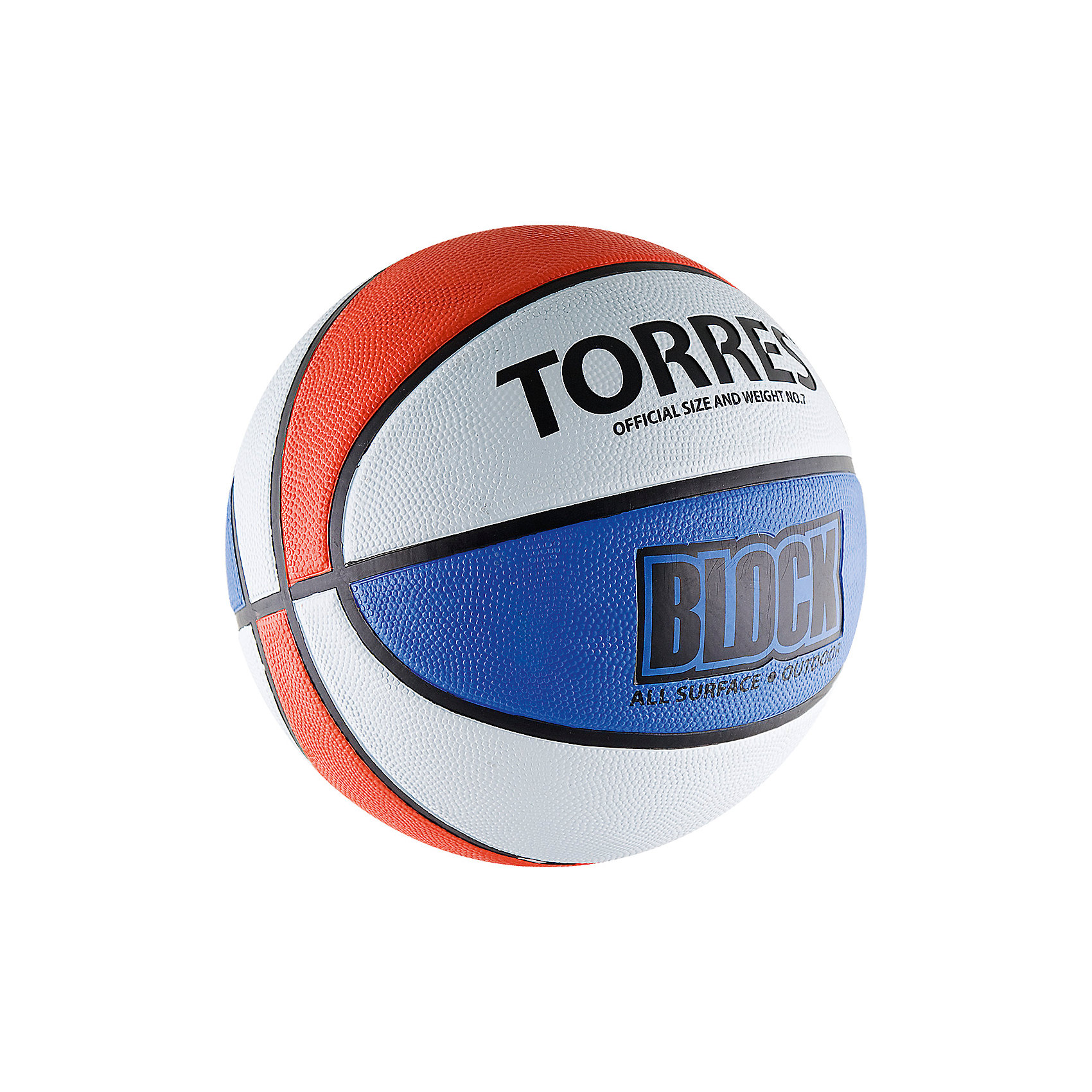 Баскетбольный мяч Block, р. 7, резина, бело-сине-красный, TORRESМячи детские<br>Основные характеристики<br><br>Вид: баскетбольный<br>Уровень игры: любительский<br>Размер: 7<br>Количество панелей: 8<br>Тип соединения панелей: клееный<br>Вес: 567-650гр<br>Окружность: 74,9-78см<br>Цвет основной: белый<br>Цвет дополнительный: синий, красный, черный<br>Материал камеры: бутиловая<br>Материал обмотки камеры: нейлон<br>Материал покрышки: резина<br>Мяч подходит для игры на улице и в зале<br>Страна-производитель: Китай <br>Упаковка: пакет (поставляется в сдутом виде)<br><br>Достаточно традиционный дизайн мяча с чередующимися цветными панелями не только делает его ярким, но и служит для отработки передач и трехочковых бросков. Поверхность из износостойкой резины с глубокими каналами позволяет эксплуатировать мяч для игры на любых типах поверхностей, в том числе и на жестких. <br>Размер 7 для мужчин и для юниоров старше 15 лет.<br><br>Ширина мм: 260<br>Глубина мм: 260<br>Высота мм: 50<br>Вес г: 600<br>Возраст от месяцев: 36<br>Возраст до месяцев: 192<br>Пол: Унисекс<br>Возраст: Детский<br>SKU: 5056632