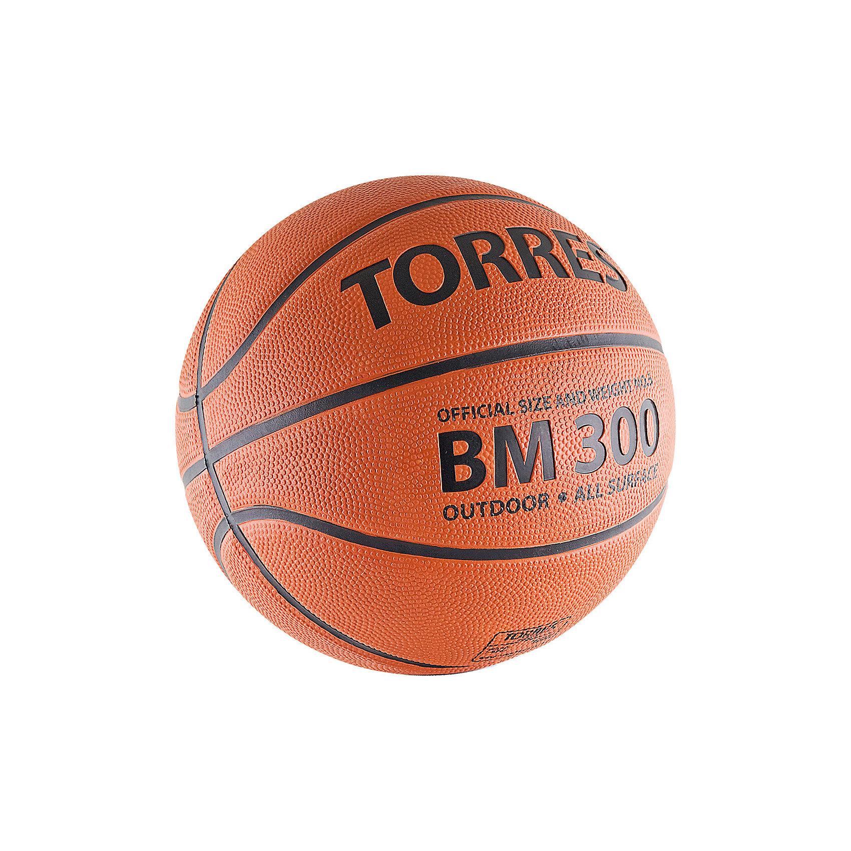 Баскетбольный мяч BM300, р. 7, резина, темнооранж., TORRES