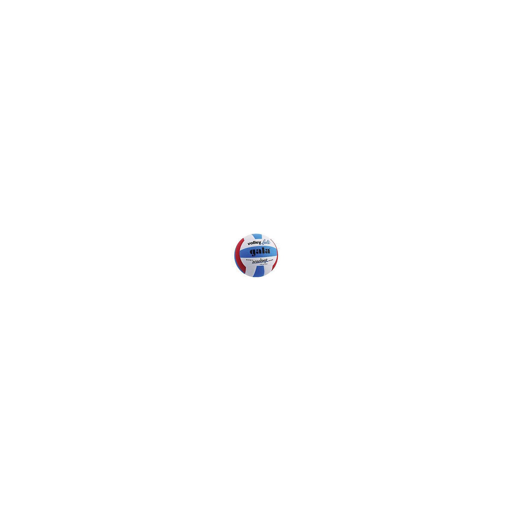 Волейбольный мяч Academy, р. 5, синт. кожа, GalaМячи детские<br>Основные характеристики<br><br>Вид: волейбольный<br>Уровень игры: тренировочный<br>Размер: 5<br>Количество панелей: 18<br>Вес: 252гр<br>Окружность: 65-67см<br>Тип соединения панелей: клеенные<br>Материал камеры: бутиловая<br>Материал обмотки камеры: нейлон<br>Материал покрышки: синтетическая кожа (полиуретан)<br>Цвет основной: синий<br>Цвет дополнительный: черный, красный, белый<br>Страна-производитель: Чешская Республика <br>Упаковка: пакет (поставляется в сдутом виде)<br><br>Волейбольный тренировочный мяч из мягкой синтетической кожи (полиуретан Cordley), обычно используемой для мячей матчевого уровня!<br>Рекомендуется для спортивных секций, школ, любительских команд, а также для использования в общеобразовательных учреждениях и игры на отдыхе.<br><br>Ширина мм: 213<br>Глубина мм: 213<br>Высота мм: 75<br>Вес г: 252<br>Возраст от месяцев: 36<br>Возраст до месяцев: 192<br>Пол: Унисекс<br>Возраст: Детский<br>SKU: 5056634