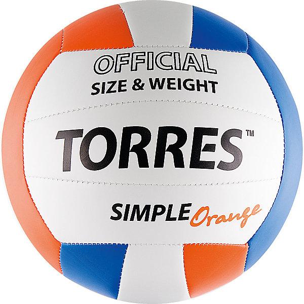 Волейбольный мяч, р.5, синт.кожа, TORRESМячи детские<br>Основные характеристики<br><br>Вид: волейбольный<br>Уровень игры: любительский<br>Размер: 5<br>Количество панелей: 18<br>Вес: 260-280гр<br>Окружность: 65-67см<br>Тип соединения панелей: машинная сшивка<br>Материал камеры: бутиловая<br>Материал обмотки камеры: нейлон<br>Материал покрышки: термополиуретан<br>Цвет основной: белый<br>Цвет дополнительный: оранжевый, синий, черный<br>Подходит для игры в зале, а так и на специально оборудованных уличных площадках с синтетическим и натуральным покрытием (песок, грунт, трава и пр.)<br>Страна-производитель: Китай <br>Упаковка: пакет (поставляется в сдутом виде)<br><br>Simple Orange как нельзя лучше соответствует пресловутому соотношению цена/качество: прекрасные технические и игровые характеристики, обусловленные применением по-настоящему мягкого, нетравмоопасного материала покрышки, качество изготовления и более чем разумная цена делают его бестселлером среди мячей для классического волейбола любительского уровня.<br><br>Ширина мм: 210<br>Глубина мм: 210<br>Высота мм: 75<br>Вес г: 280<br>Возраст от месяцев: 36<br>Возраст до месяцев: 192<br>Пол: Унисекс<br>Возраст: Детский<br>SKU: 5056638