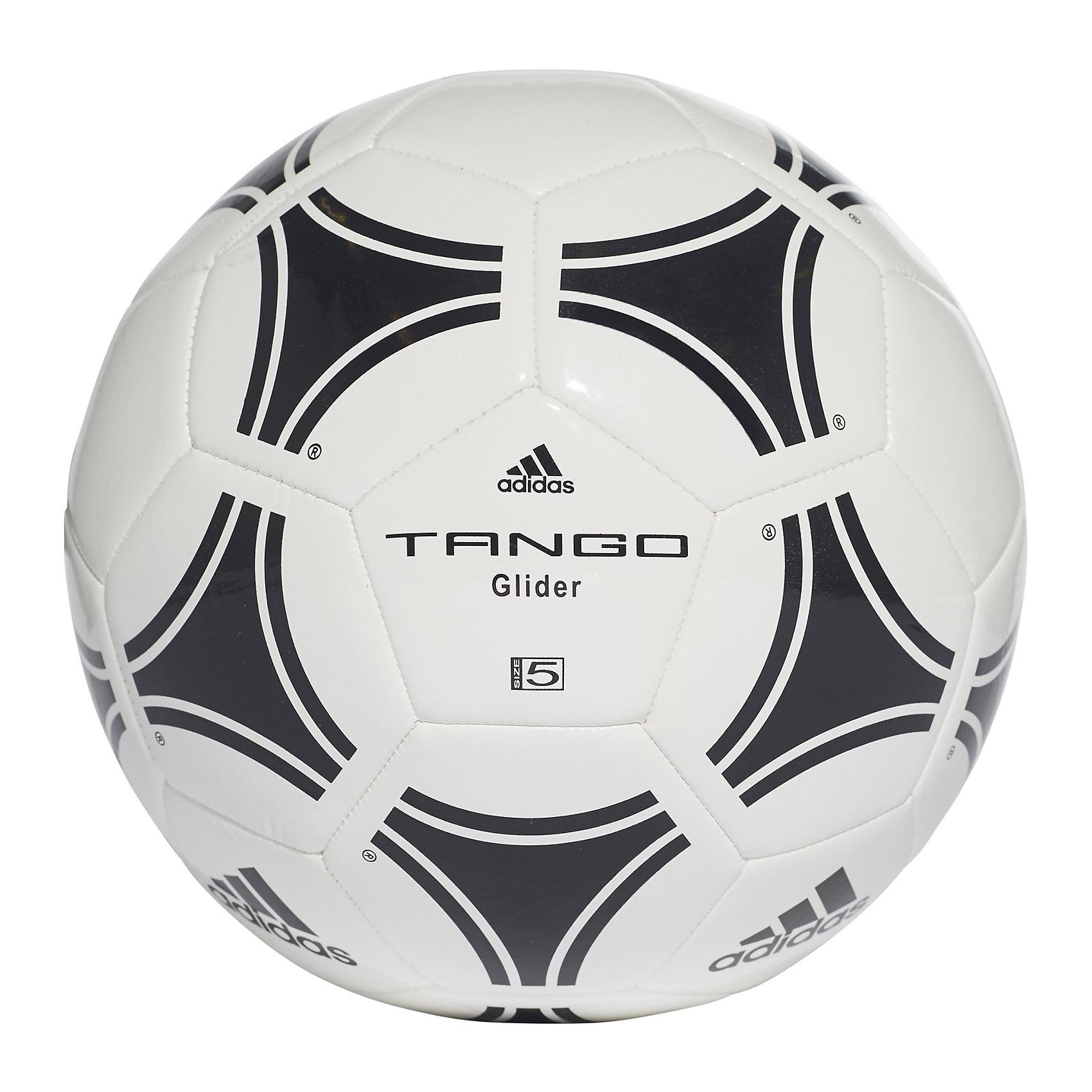 Футбольный мяч ADIDAS Tango Glider р. 5, AdidasОсновные характеристики<br><br>Тип: футбольный<br>Размер: 5 <br>Окружность: 68-70см<br>Количество панелей: 32<br>Количество подкладочных слоев: 1<br>Вес: 430гр<br>Материалы камеры: бутиловая<br>Материал покрышки: синтетическая кожа (термополиуретан)<br>Тип соединения панелей: машинная сшивка<br>Цвет основной: белый<br>Цвет дополнительный: черый<br>Вид применения: любительский уровень игры в футбол<br>Подходит для игры на газоне<br>Страна-производитель: Пакистан<br>Упаковка: полиэтиленовый пакет со стикером (поставляется в сдутом виде)<br><br>С этим мячом Вы сможете отрабатывать пасы, оттачивать технику владения мячом, забивать красивые голы - этот тренировочный мяч поможет Вам достичь новых высот в любимом виде спорта. <br>Футбольный мяч Adidas Tango Glider выделяется среди других моделей мячей своей высокой износоустойчивостью и долговечностью.<br><br>Ширина мм: 220<br>Глубина мм: 220<br>Высота мм: 75<br>Вес г: 430<br>Возраст от месяцев: 36<br>Возраст до месяцев: 192<br>Пол: Унисекс<br>Возраст: Детский<br>SKU: 5056646