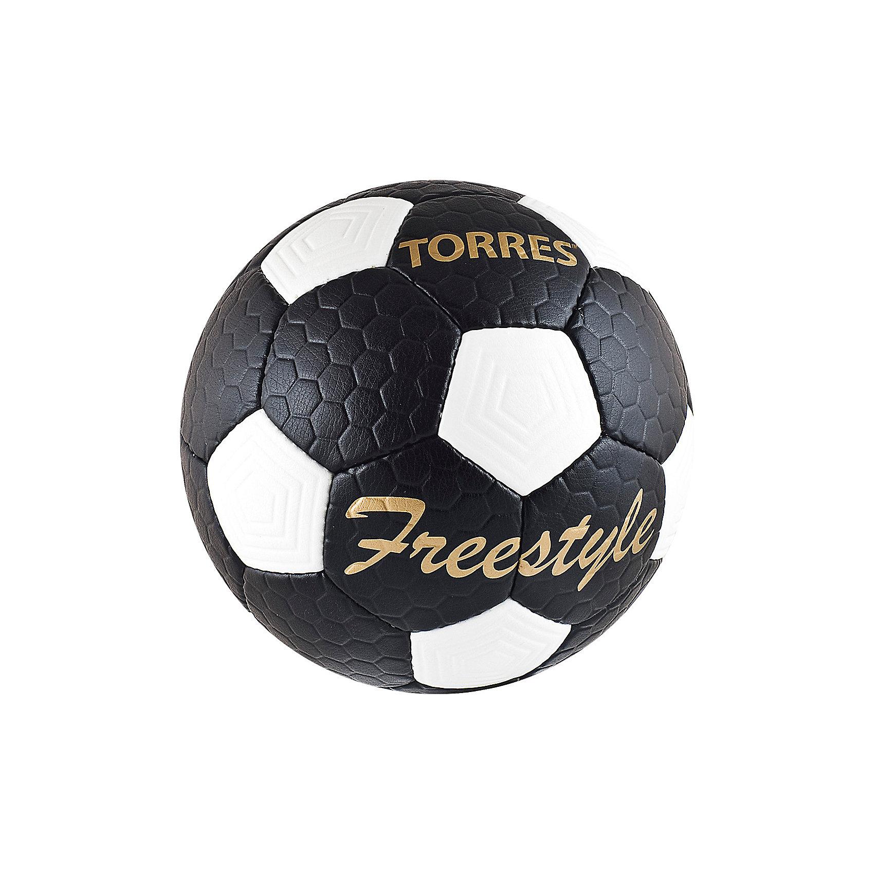 Футбольный мяч Free Style  p.5, TORRESМячи детские<br>Основные характеристики<br><br>Тип: футбольный<br>Размер: 5 <br>Окружность: 68-70см<br>Количество панелей: 32<br>Количество подкладочных слоев: 4<br>Вес: 410-450гр<br>Материалы камеры: латексная<br>Материал покрышки: матовый полиуретан<br>Тип соединения панелей: ручная сшивка<br>Цвет основной: черный<br>Цвет дополнительный: белый, золотой<br>Вид применения: тренировочный уровень игры в футбол<br>Подходит для игры на любых поверхностях в любых погодных условиях (при соблюдении условий эксплуатации и ухода)<br>Страна-производитель: Пакистан<br>Упаковка: полиэтиленовый пакет (поставляется в сдутом виде)<br><br>Классический черно-белый футбольный мяч с панелями из рифленой синтетической кожи, устойчивой к трению и износу.<br><br>Ширина мм: 223<br>Глубина мм: 223<br>Высота мм: 75<br>Вес г: 430<br>Возраст от месяцев: 36<br>Возраст до месяцев: 192<br>Пол: Унисекс<br>Возраст: Детский<br>SKU: 5056648