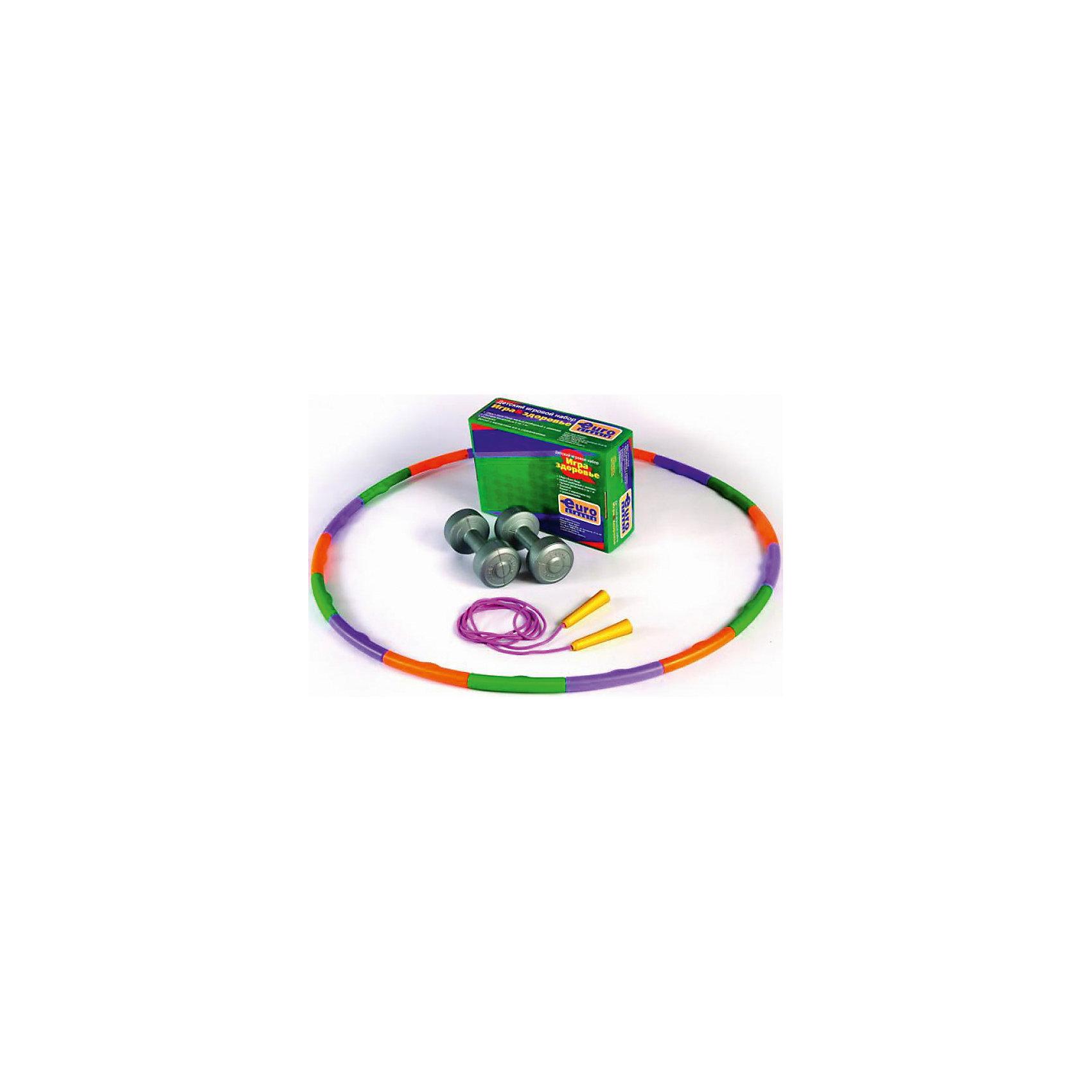 Набор для фитнеса Игра и здоровье, Euro classicМассажеры<br>Основные характеристики<br><br>Назначение: для занятий фитнесом и оздоровительной гимнастикой<br>Комплектность: обруч массажный разборный 890 (18 сегментов), гантели виниловые 2шт. по 1кг., скакалка 2,8м, буклет с вариантами упражнений и игр для детей<br>Вид применения: домашнее использование<br>Страна-производитель: Россия<br>Упаковка: индивидуальная цветная коробка с удобной ручкой для переноски<br><br>Набор для домашнего фитнеса, увлекательная игра для детей и взрослых. С помощью этого набора, вы сможете скорректировать талию, поднять тонус и укрепить обще-физическое состояние организма.<br><br>Ширина мм: 220<br>Глубина мм: 100<br>Высота мм: 310<br>Вес г: 2490<br>Возраст от месяцев: 36<br>Возраст до месяцев: 192<br>Пол: Унисекс<br>Возраст: Детский<br>SKU: 5056650