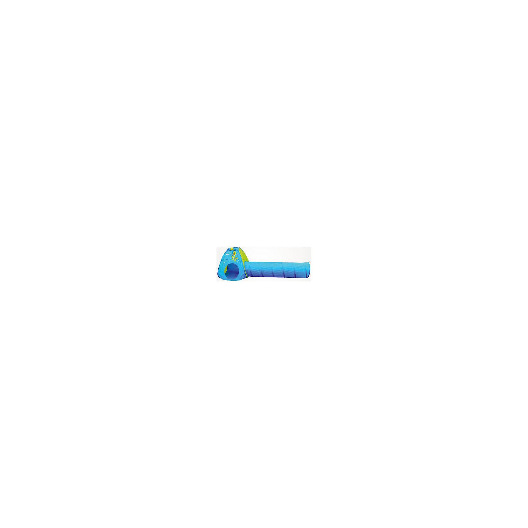Палатка, игровая, с тоннелемОсновные характеристики:<br><br>Размер: палатка (80х80х88см)<br>тоннель (?45х185см) <br>Материал: 170 Т полиэстер, сталь<br>Цвет: синий<br>Вес: 1,22 кг<br>Страна-производитель: Китай <br>Упаковка: чехол<br><br>Ширина мм: 0<br>Глубина мм: 0<br>Высота мм: 0<br>Вес г: 0<br>Возраст от месяцев: 36<br>Возраст до месяцев: 192<br>Пол: Унисекс<br>Возраст: Детский<br>SKU: 5056656