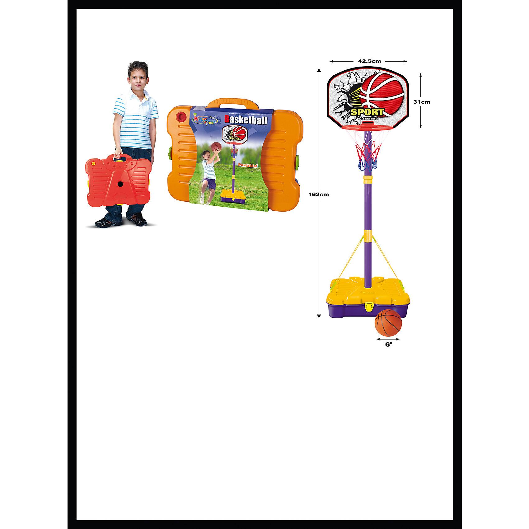 Баскетбольная стойка, KingSportОсновные характеристики<br><br>Сборно-разборная конструкция<br>Регулируемая высота: 90 - 162см<br>Размер щита: 42,5х31см<br>Мяч: (диаметр - 15см)<br>Удобный кейс для перемещения<br>Материал: полипропилен, сталь<br>Вес: 1,68кг<br>Страна-производитель: Китай <br>Упаковка: пластиковый кейс <br>Габариты изделия в упаковке: 47х13х37см<br><br>Стойка баскетбольная TX31297 - это набор для начинающих маленьких спортсменов. Благодаря стойке ребенок будет развивать координацию движений, ловкость, сноровку.<br><br>Ширина мм: 130<br>Глубина мм: 410<br>Высота мм: 370<br>Вес г: 1675<br>Возраст от месяцев: 36<br>Возраст до месяцев: 192<br>Пол: Унисекс<br>Возраст: Детский<br>SKU: 5056660