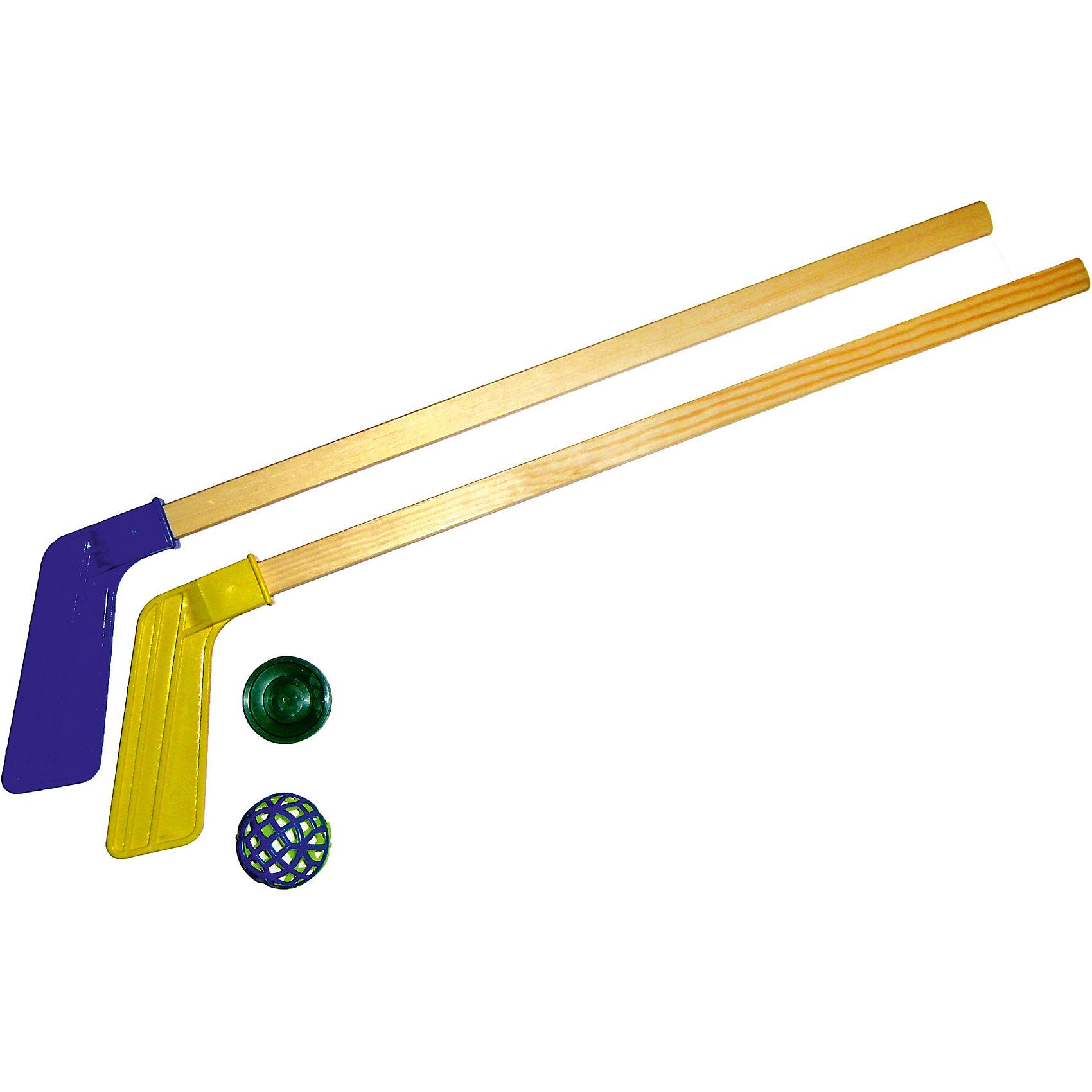 Хоккейный набор (2 клюшки + шайба + мячик) , MPSportОсновные характеристики<br><br>Длина клюшки: 71см<br>В комплекте:  2 клюшки, шайба, мячик<br>Материал: клюшка: рукоять - дерево; крюк - пластик; шайба, мячик - пластик<br>Цвет: клюшки- синие, красные, желтые, зеленые; шайбы - синие, красные, оранжевые, зеленые, черные<br>Страна-производитель: Россия<br>Упаковка: пакет с европодвесом<br><br>Набор не предназначен для игры на льду! <br>Рекомендуется использовать его для игровых целей внутри помещения и на открытом воздухе.<br><br>Ширина мм: 710<br>Глубина мм: 160<br>Высота мм: 40<br>Вес г: 500<br>Возраст от месяцев: 36<br>Возраст до месяцев: 192<br>Пол: Унисекс<br>Возраст: Детский<br>SKU: 5056666