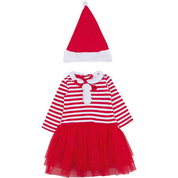 Карнавальный костюм для девочки PlayTodayКомплекты<br>Характеристики:<br><br>• Вид одежды: карнавальный костюм<br>• Пол: для девочки<br>• Сезон: новогодние праздники<br>• Материал: хлопок – 100%, (верх); полиэстер – 100% (юбка)<br>• Цвет: белый, красный<br>• Силуэт: прямой крой<br>• Длина платья: миди<br>• Рукав: длинный<br>• Вырез горловины: круглый, отложной воротничок<br>• Застежка: кнопки на спинке по всей длине платья<br>• Наличие колпака Санта Клауса<br>• Особенности ухода: ручная стирка без применения отбеливающих средств, глажение при низкой температуре <br><br>PlayToday – это линейка детской одежды, которая предназначена как для повседневности, так и для праздников. Большинство моделей выполнены в классическом стиле, сочетающем в себе традиции с яркими стильными элементами и аксессуарами. Весь ассортимент одежды сочетается между собой по стилю и цветовому решению, поэтому Вам будет легко сформировать гардероб вашего ребенка, который отражает его индивидуальность. <br>Карнавальный костюм для девочки PlayToday – яркий, стильный и оригинальный наряд по типу боди для новогодних праздников. Боди с юбкой выполнено из 100% хлопка, юбка оформлена сетчатой тканью, которая придает наряду пышность и форму. У боди стильный дизайн – полосатый верх, штанишки и юбка – однотонные. Комплект оформлен яркими деталями: имеются белые помпоны и отложной воротничок. Боди удобно надевать и снимать: все застежки имеют кнопки. Для законченности образа предусмотрена шапка-колпак. <br><br>Карнавальный костюм для девочки PlayToday можно купить в нашем интернет-магазине.<br>Ширина мм: 157; Глубина мм: 13; Высота мм: 119; Вес г: 200; Цвет: красный; Возраст от месяцев: 6; Возраст до месяцев: 9; Пол: Женский; Возраст: Детский; Размер: 74,68,62; SKU: 5059386;