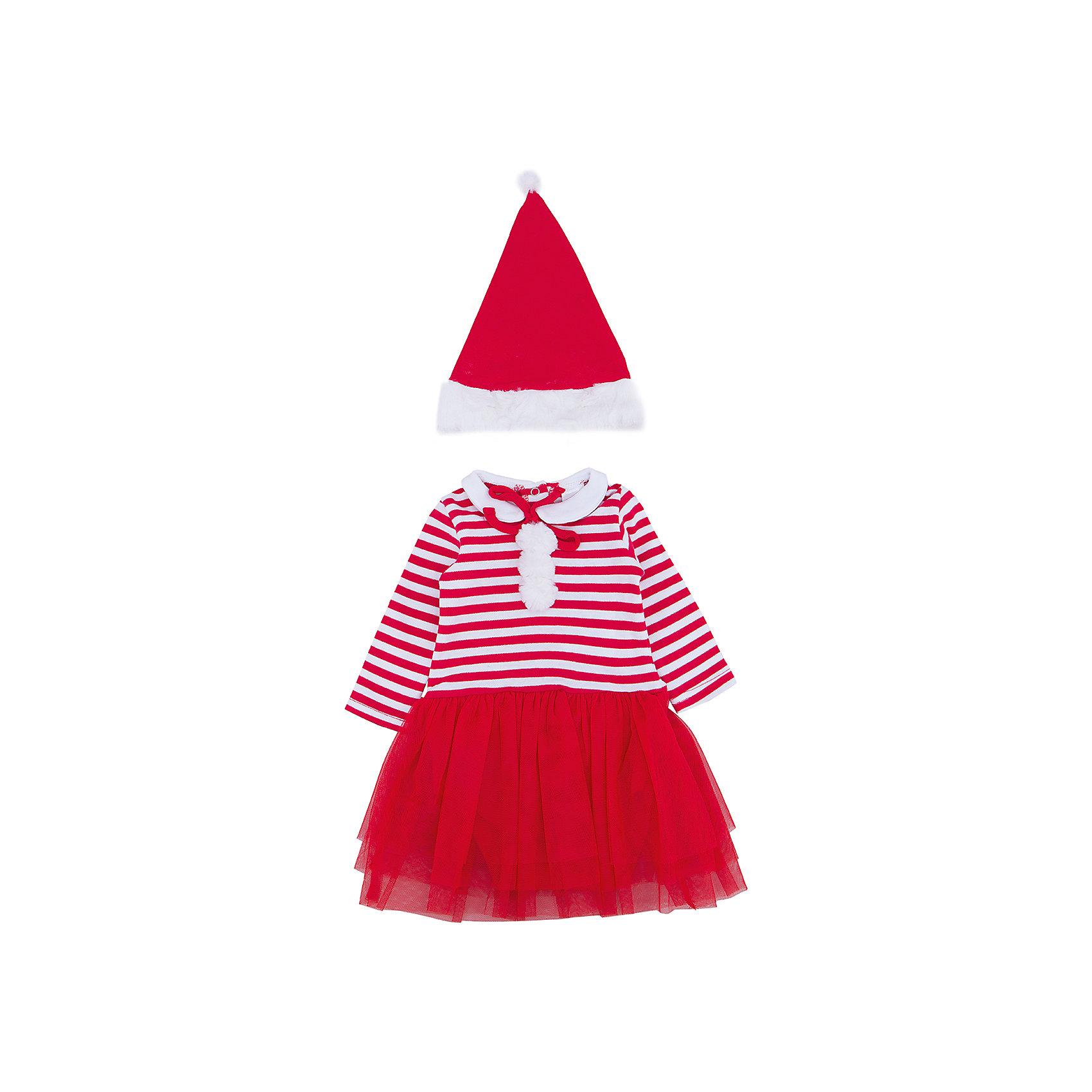 Карнавальный костюм для девочки PlayTodayПлатья<br>Характеристики:<br><br>• Вид одежды: карнавальный костюм<br>• Пол: для девочки<br>• Сезон: новогодние праздники<br>• Материал: хлопок – 100%, (верх); полиэстер – 100% (юбка)<br>• Цвет: белый, красный<br>• Силуэт: прямой крой<br>• Длина платья: миди<br>• Рукав: длинный<br>• Вырез горловины: круглый, отложной воротничок<br>• Застежка: кнопки на спинке по всей длине платья<br>• Наличие колпака Санта Клауса<br>• Особенности ухода: ручная стирка без применения отбеливающих средств, глажение при низкой температуре <br><br>PlayToday – это линейка детской одежды, которая предназначена как для повседневности, так и для праздников. Большинство моделей выполнены в классическом стиле, сочетающем в себе традиции с яркими стильными элементами и аксессуарами. Весь ассортимент одежды сочетается между собой по стилю и цветовому решению, поэтому Вам будет легко сформировать гардероб вашего ребенка, который отражает его индивидуальность. <br>Карнавальный костюм для девочки PlayToday – яркий, стильный и оригинальный наряд по типу боди для новогодних праздников. Боди с юбкой выполнено из 100% хлопка, юбка оформлена сетчатой тканью, которая придает наряду пышность и форму. У боди стильный дизайн – полосатый верх, штанишки и юбка – однотонные. Комплект оформлен яркими деталями: имеются белые помпоны и отложной воротничок. Боди удобно надевать и снимать: все застежки имеют кнопки. Для законченности образа предусмотрена шапка-колпак. <br><br>Карнавальный костюм для девочки PlayToday можно купить в нашем интернет-магазине.<br><br>Ширина мм: 157<br>Глубина мм: 13<br>Высота мм: 119<br>Вес г: 200<br>Цвет: красный<br>Возраст от месяцев: 2<br>Возраст до месяцев: 5<br>Пол: Женский<br>Возраст: Детский<br>Размер: 62,68,74<br>SKU: 5059386